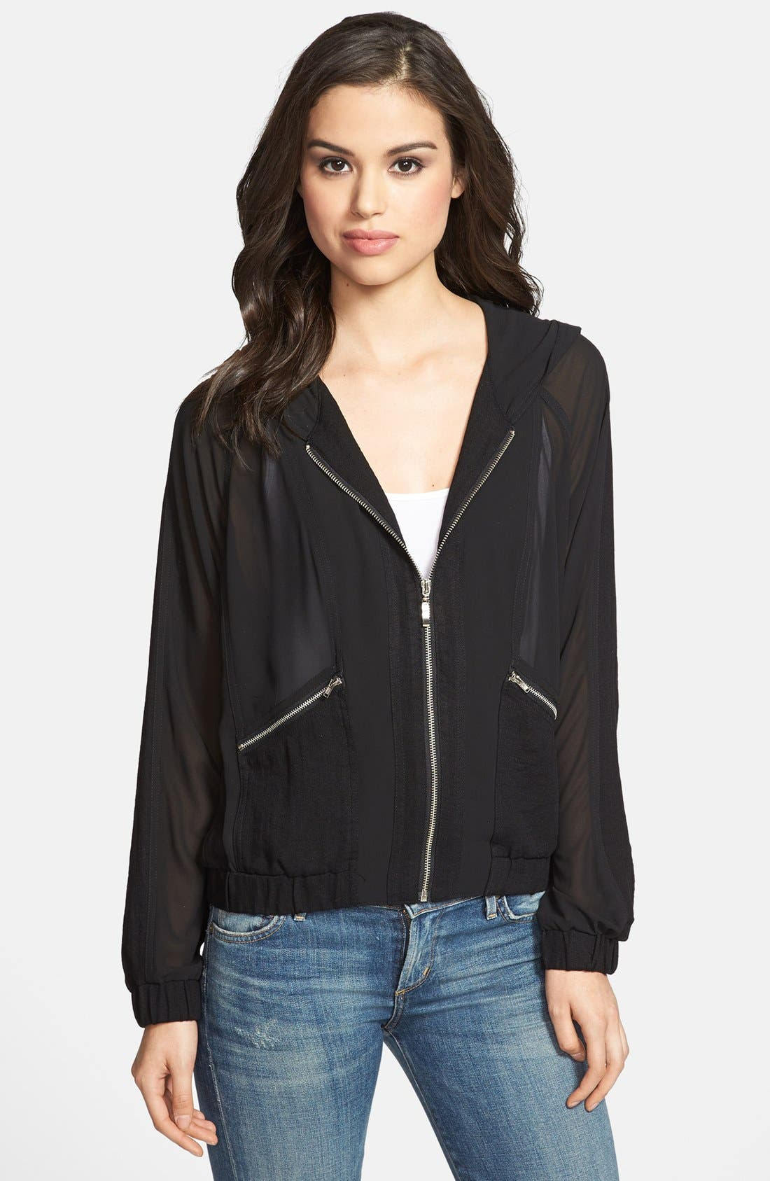 Alternate Image 1 Selected - Olivia Moon Hooded Sheer Jacket