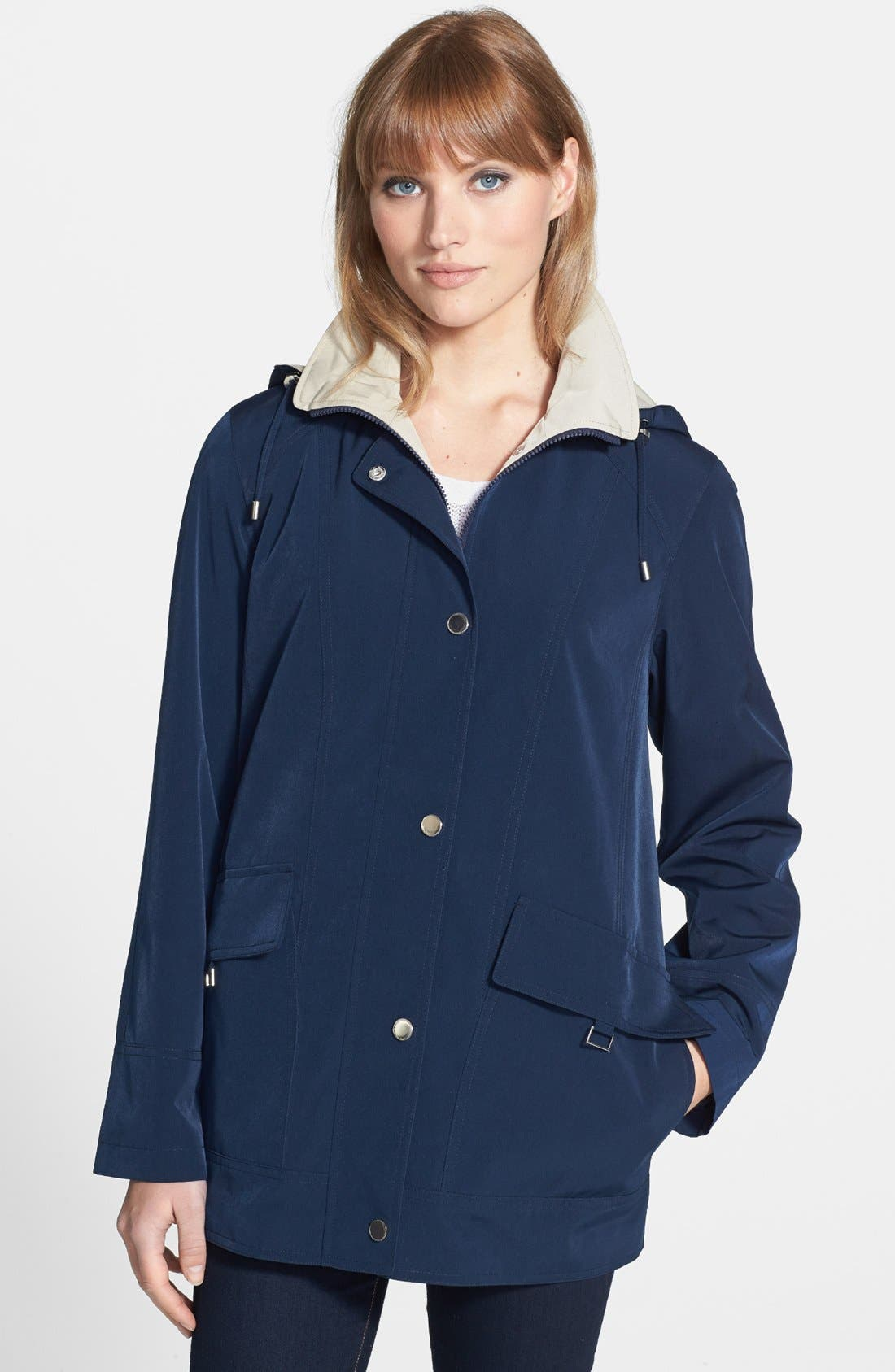 Alternate Image 1 Selected - Gallery Convertible Collar A-Line Coat with Detachable Hood (Regular & Petite) (Online Only)