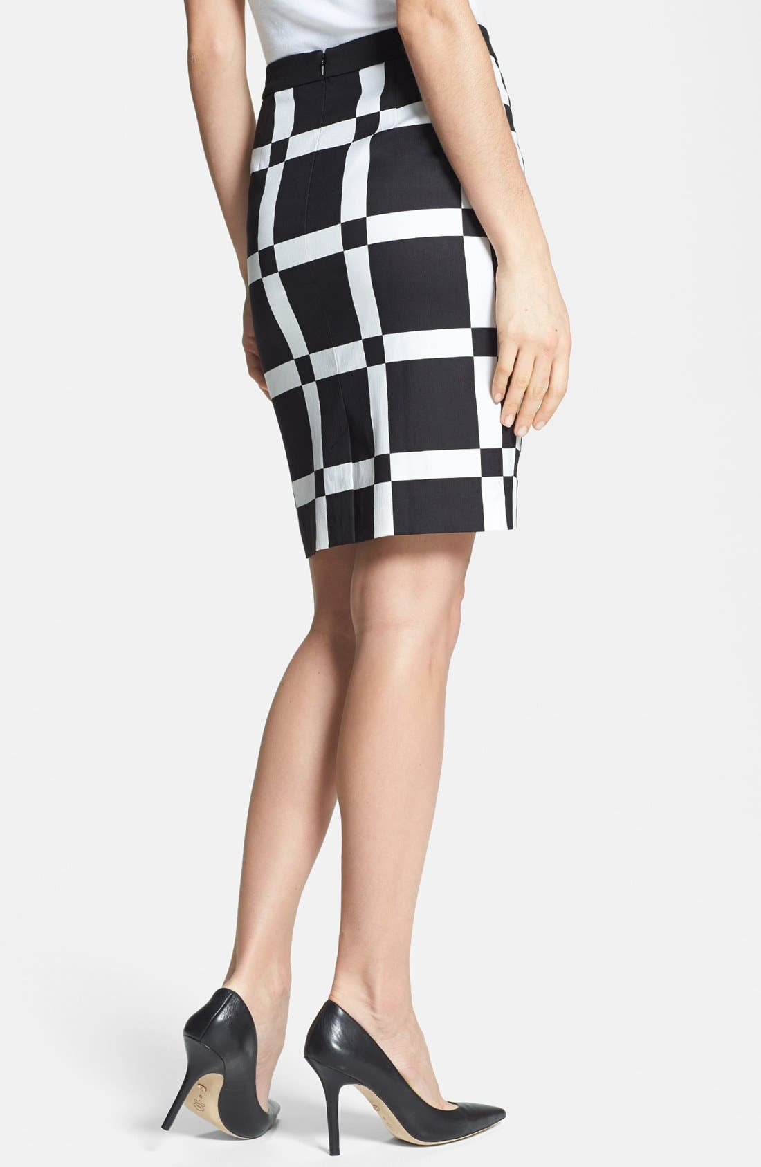 Print Pencil Skirt,                             Alternate thumbnail 2, color,                             Black/ Cream Cloud Combo