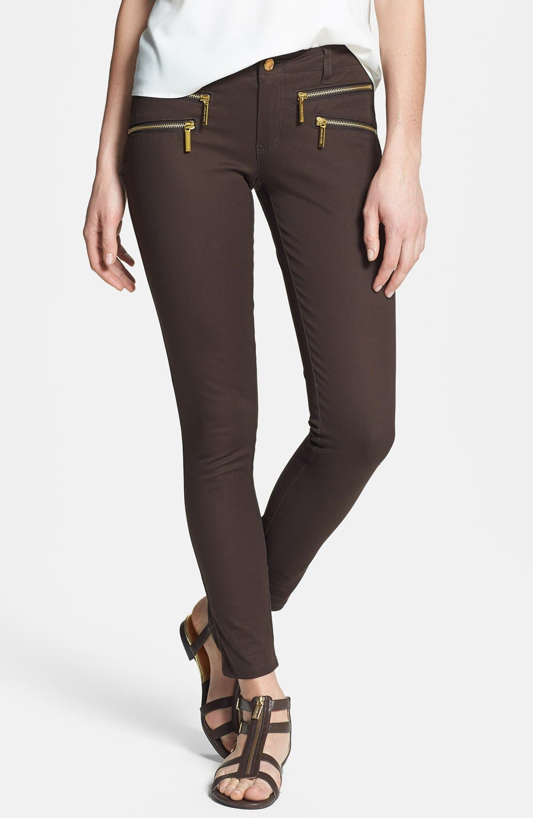 Zip Pocket Skinny Pants,                             Main thumbnail 1, color,                             Chocolate