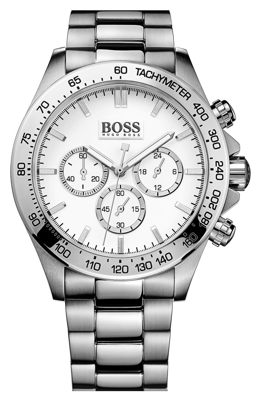 Main Image - BOSS HUGO BOSS Round Chronograph Bracelet Watch, 44mm