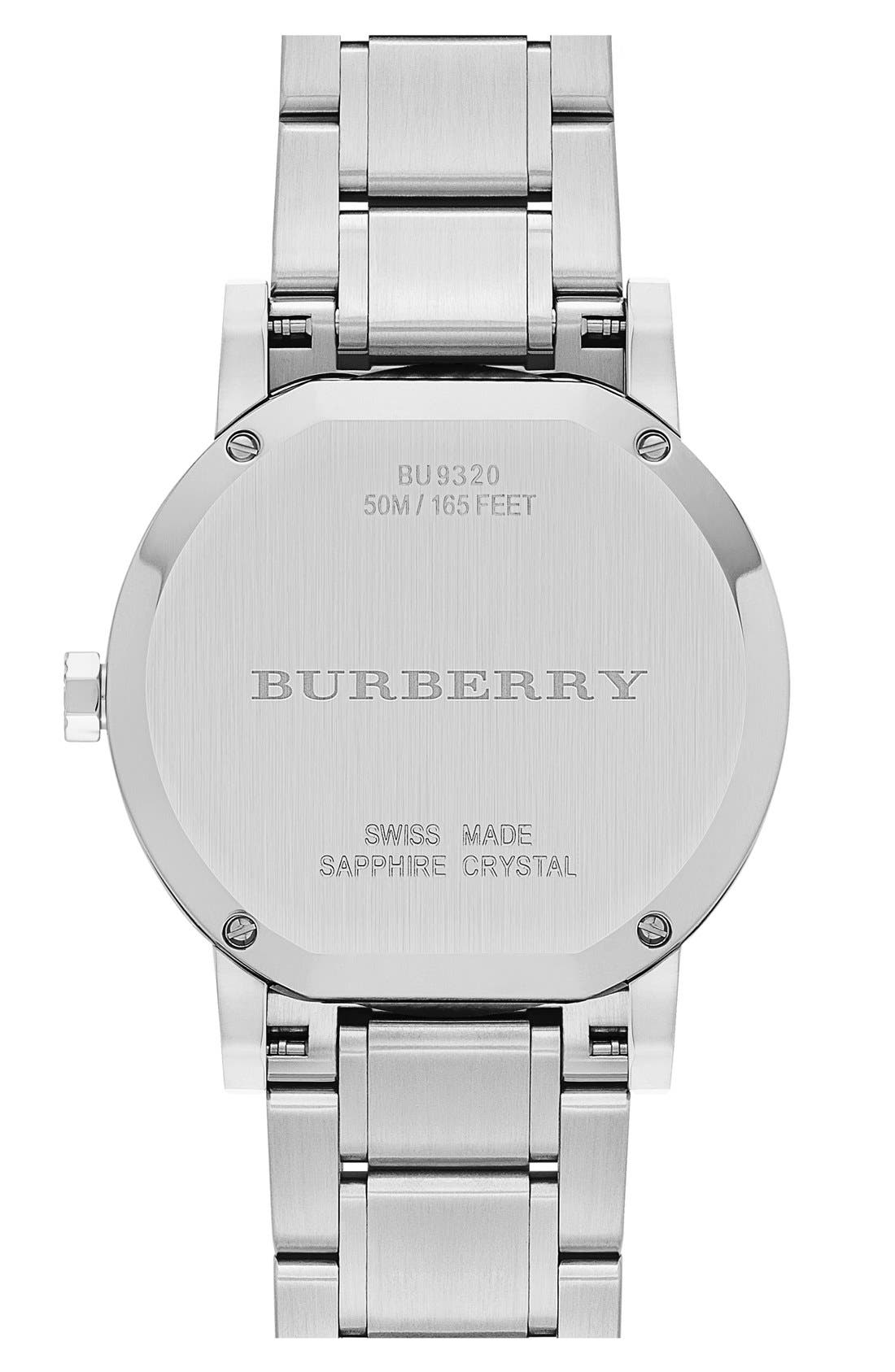 Alternate Image 2  - Burberry Check Stamped Automatic Bracelet Watch, 38mm