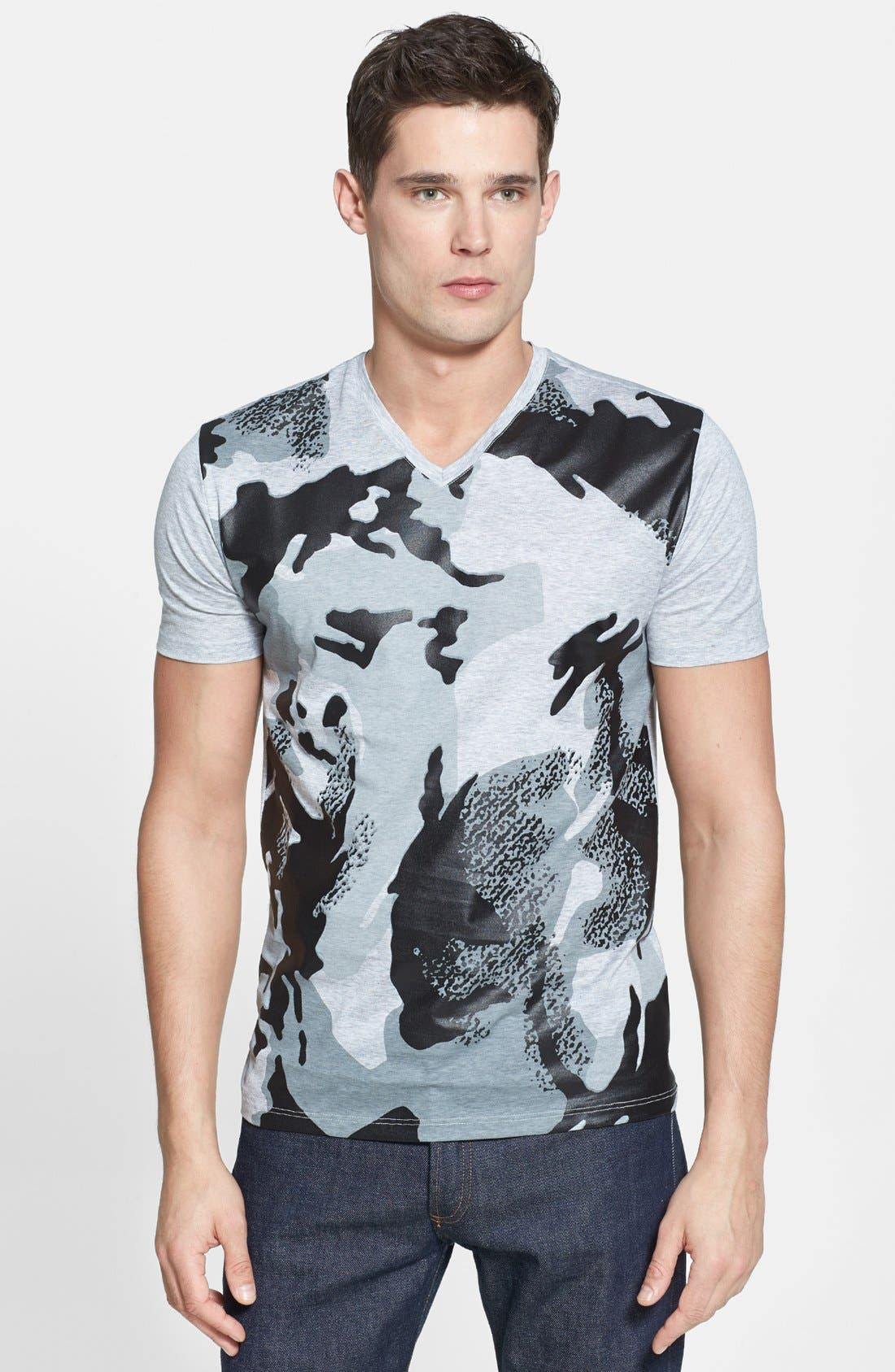 Alternate Image 1 Selected - Versace Camo Front Print V-Neck T-Shirt