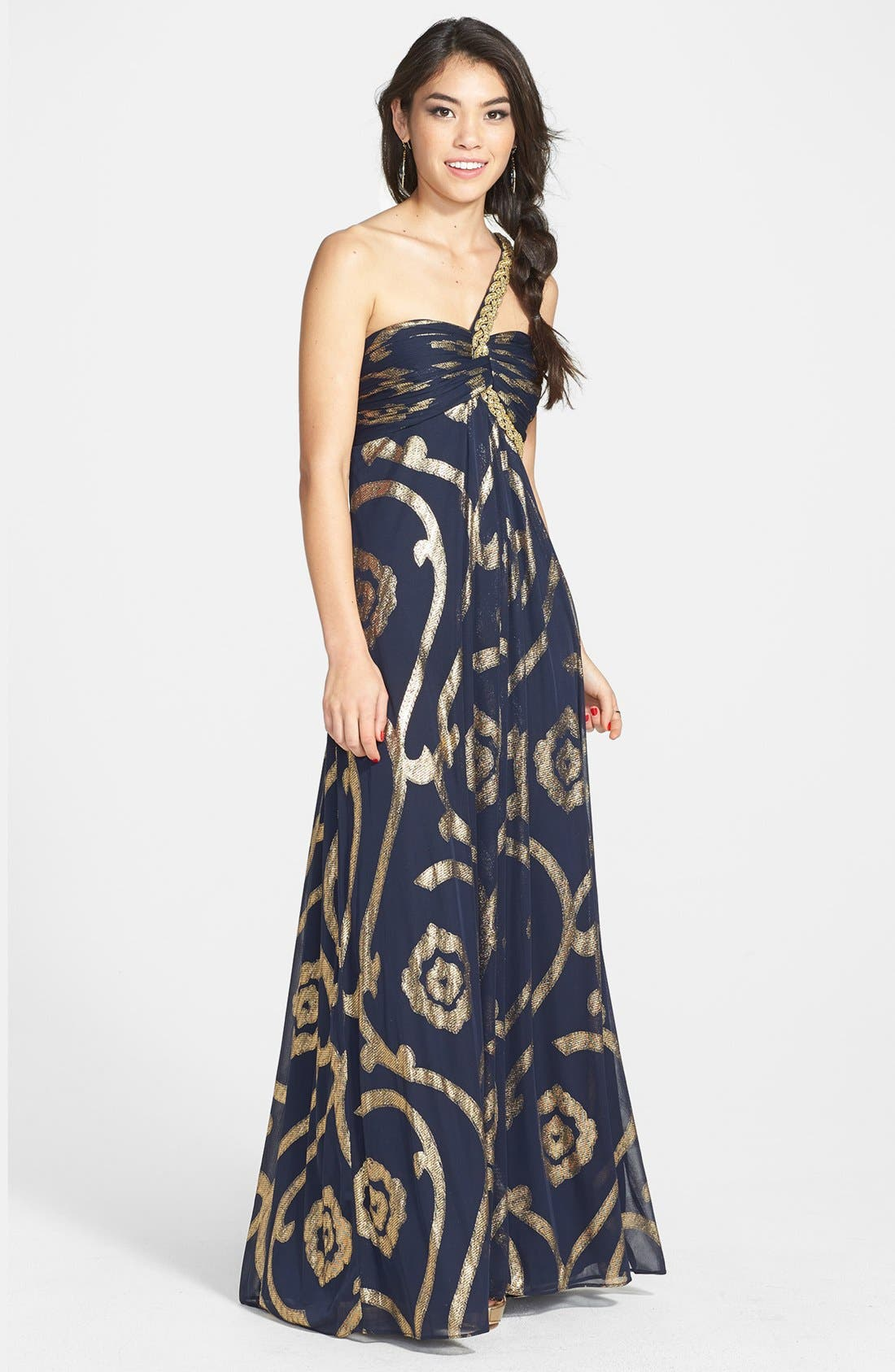Main Image - Betsy & Adam Foil Print Off-Shoulder Gown