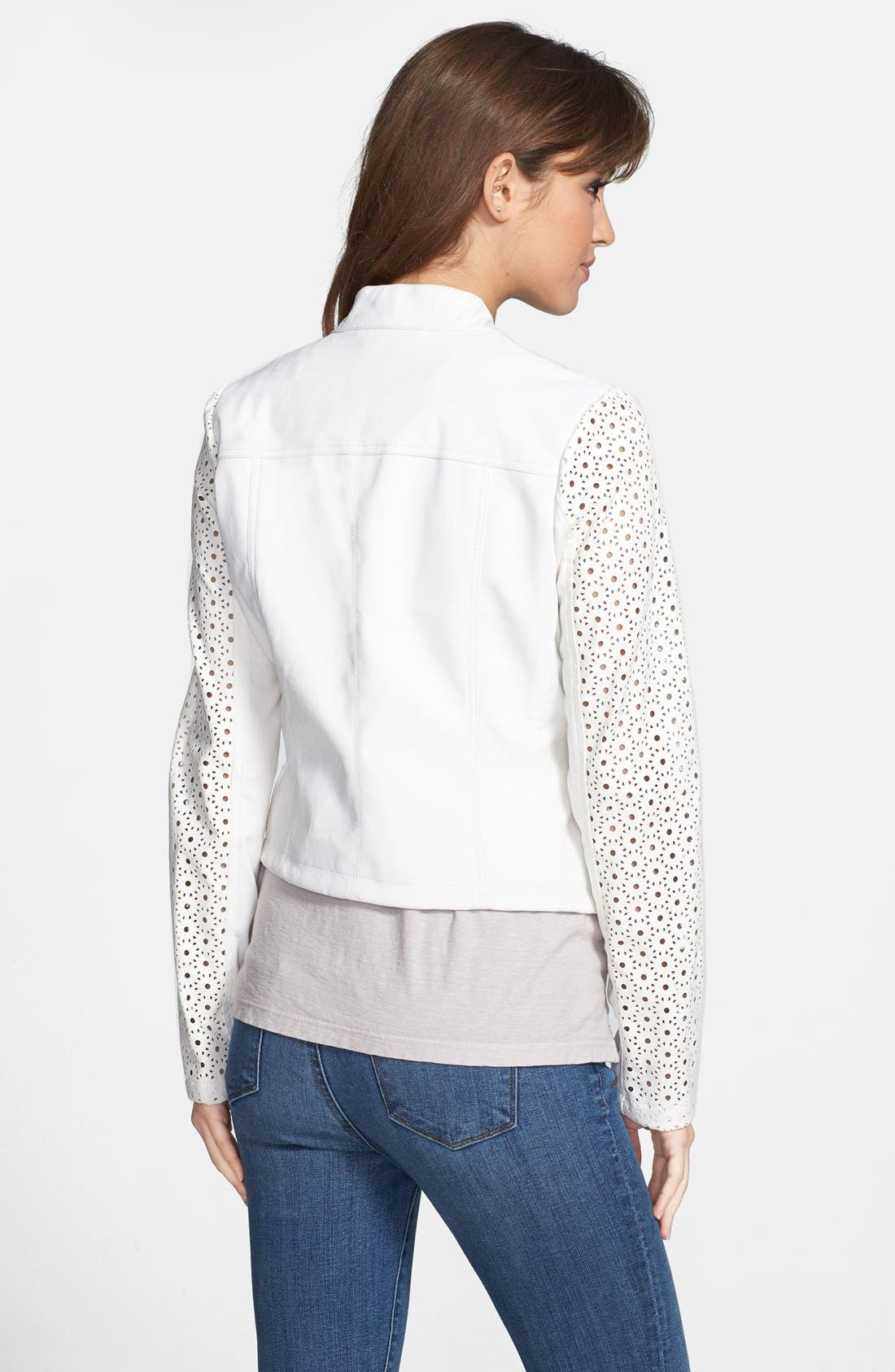 Perforated Sleeve Faux Leather Moto Jacket,                             Alternate thumbnail 2, color,                             White