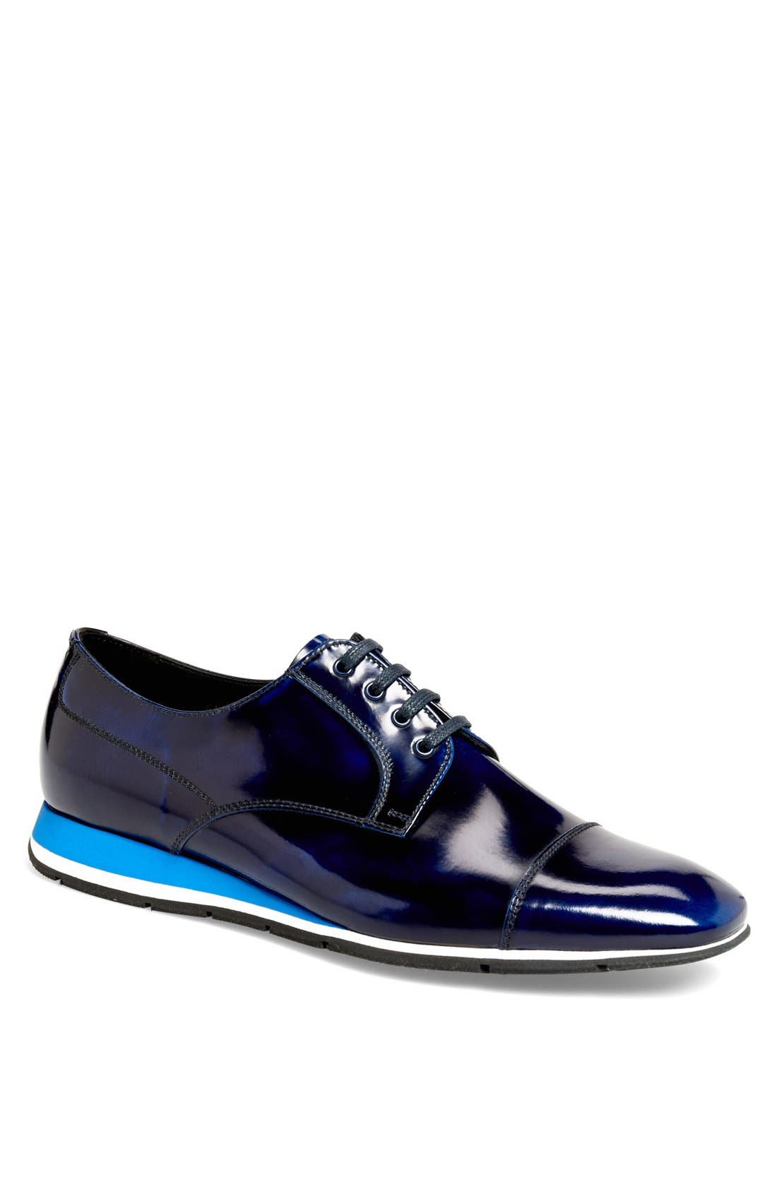 Cap Toe Derby,                         Main,                         color, Cobalt Blue