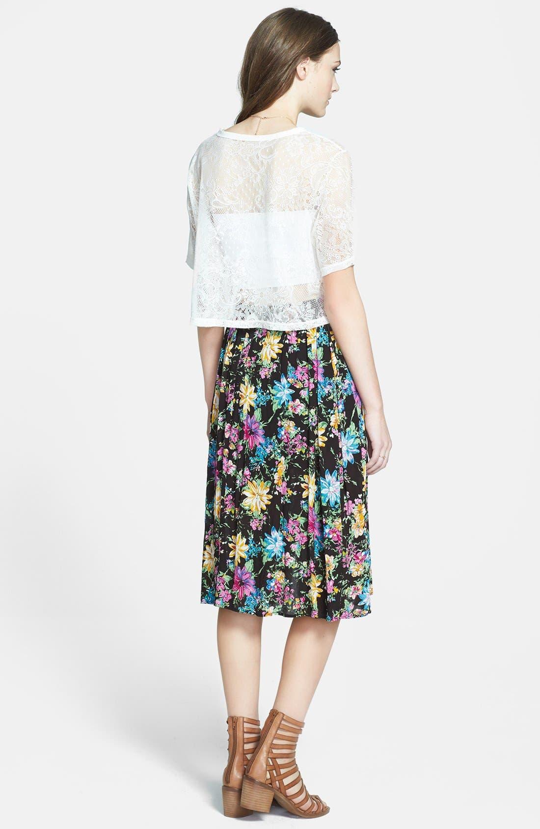 Double Front Slit Midi Skirt,                             Alternate thumbnail 2, color,                             Black Floral
