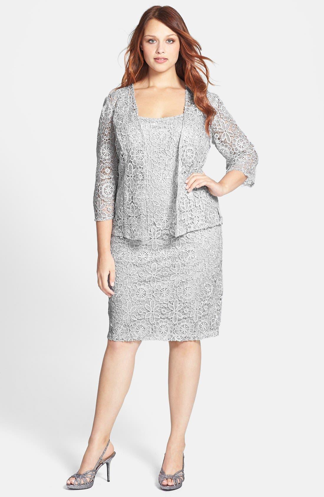 Main Image - Alex Evenings Sequin Lace Dress & Jacket (Plus Size)