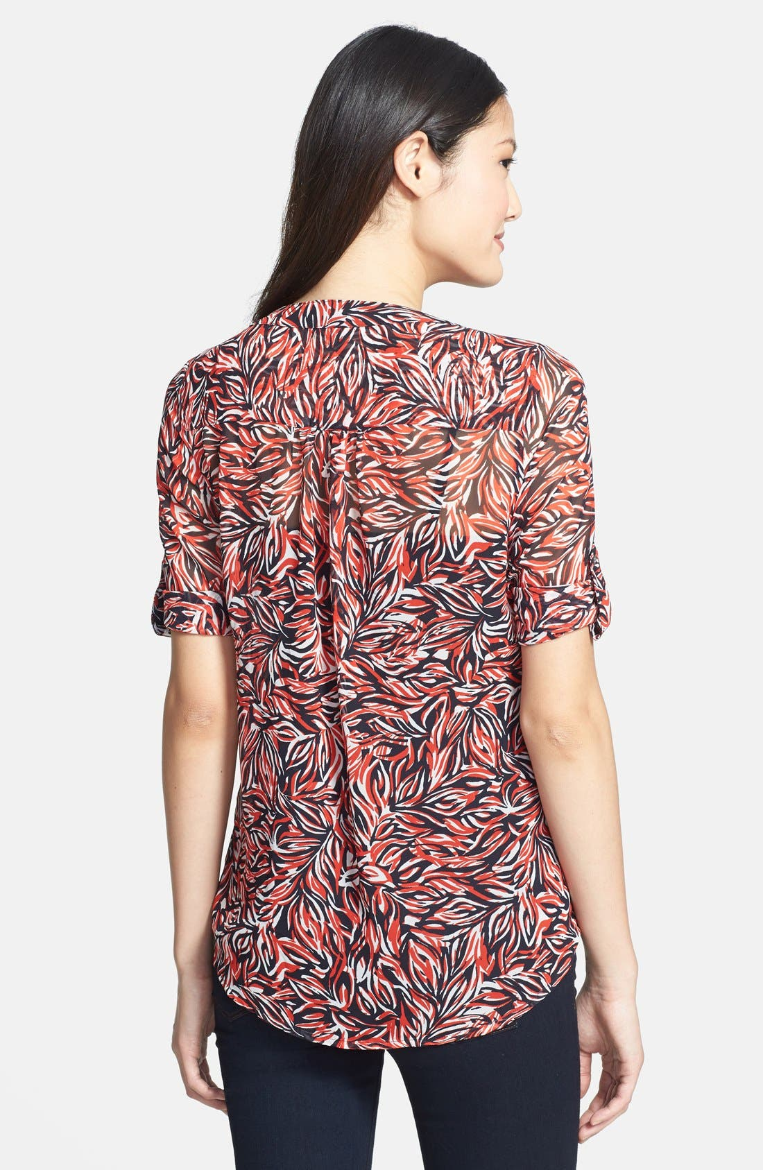 Alternate Image 2  - Chaus 'Feather Floral' Print Pintuck Blouse