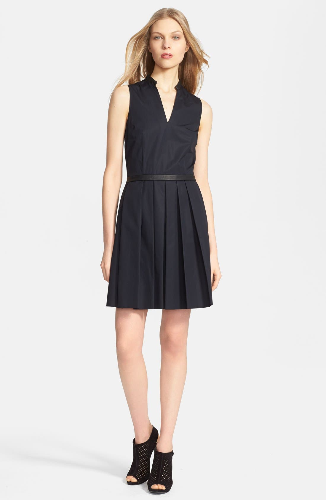 Main Image - Band of Outsiders Leather Trim Poplin Dress