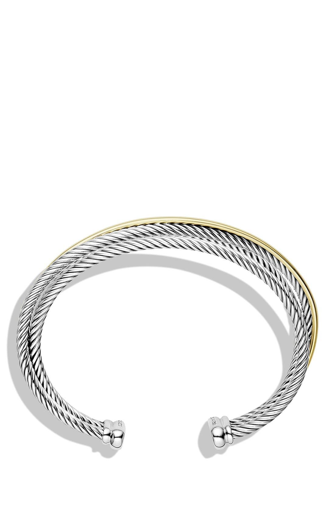 Alternate Image 2  - David Yurman 'Crossover' Three-Row Cuff with Gold