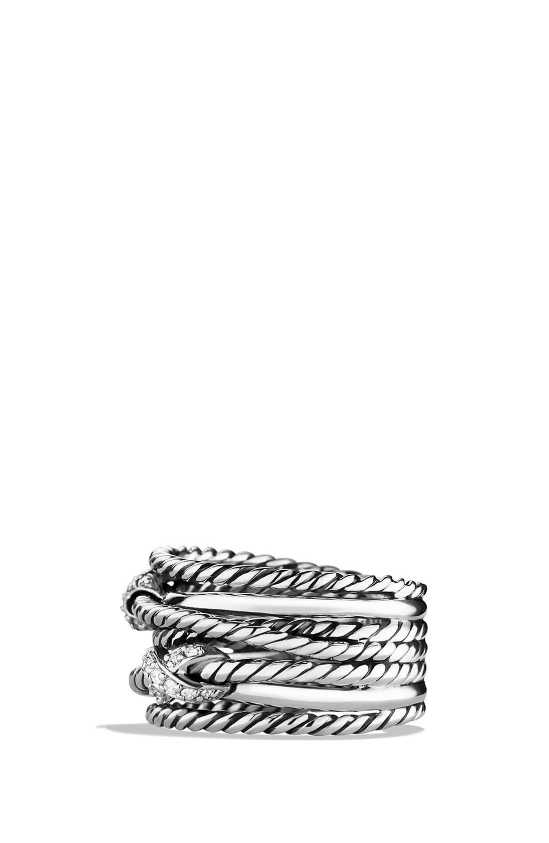 Alternate Image 2  - David Yurman Double 'X Crossover' Ring with Diamonds