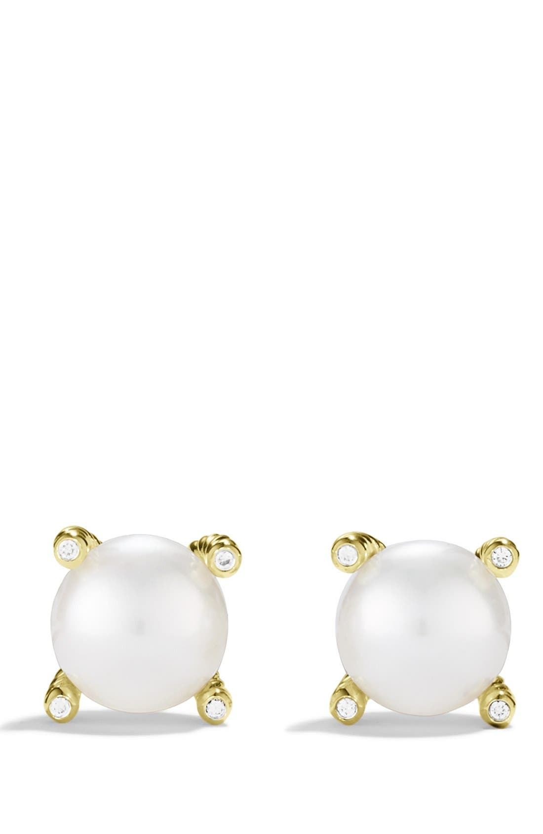 Pearl Earrings with Diamonds in Gold,                             Alternate thumbnail 2, color,                             Pearl