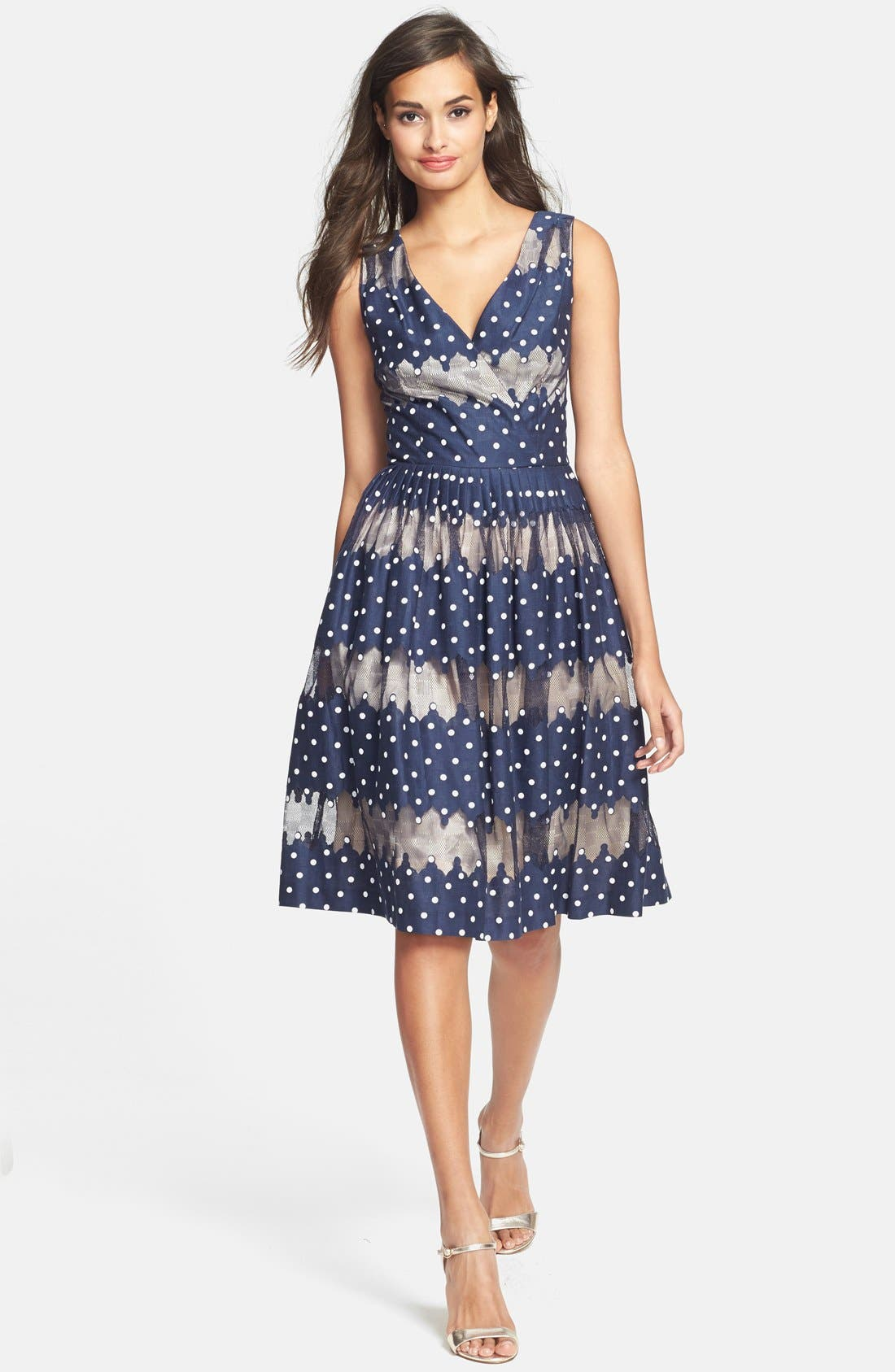 Alternate Image 3  - Maggy London Burnout Dot Fit & Flare Dress