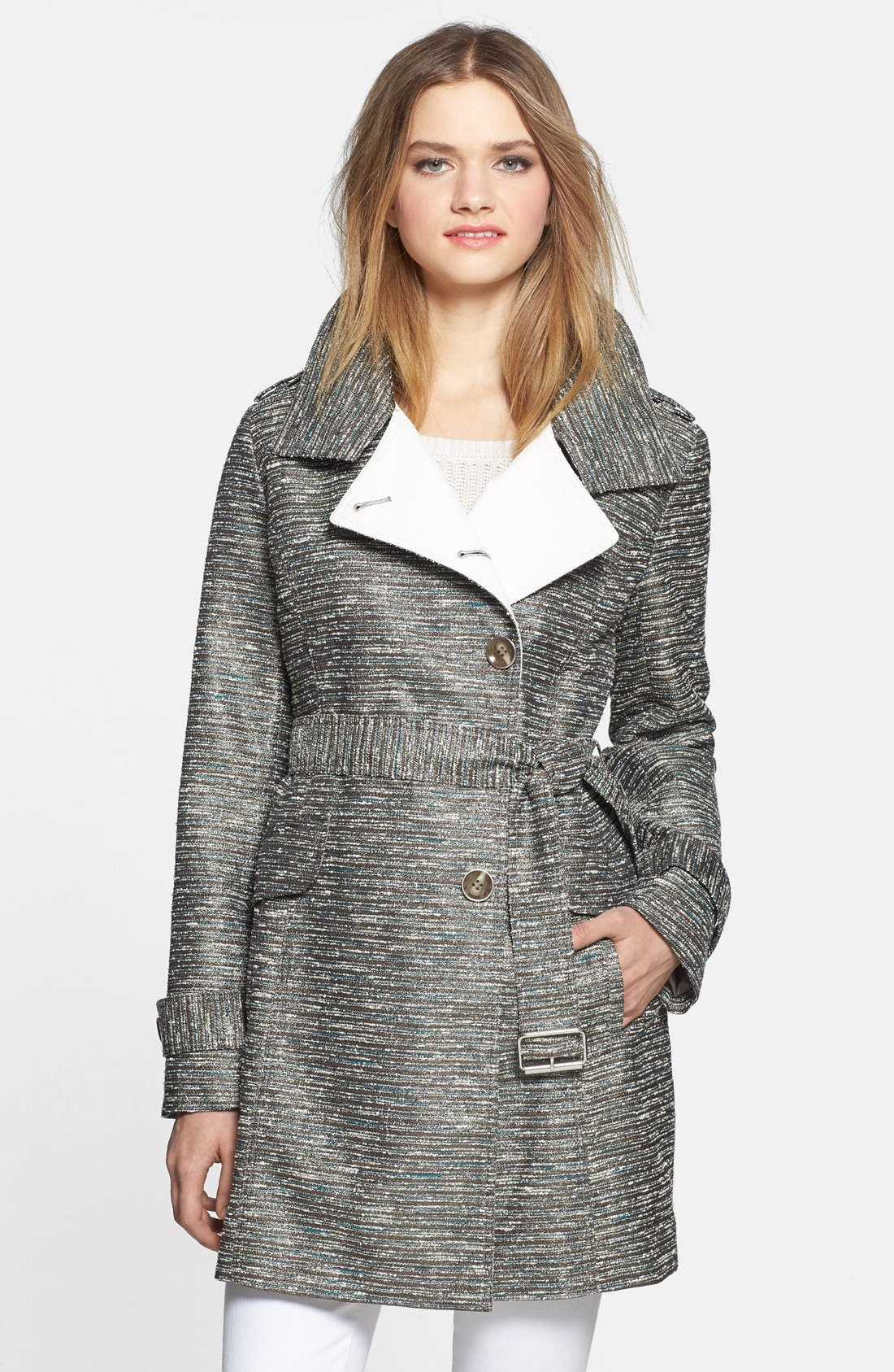 Alternate Image 1 Selected - Kenneth Cole New York Metallic Tweed Trench Coat