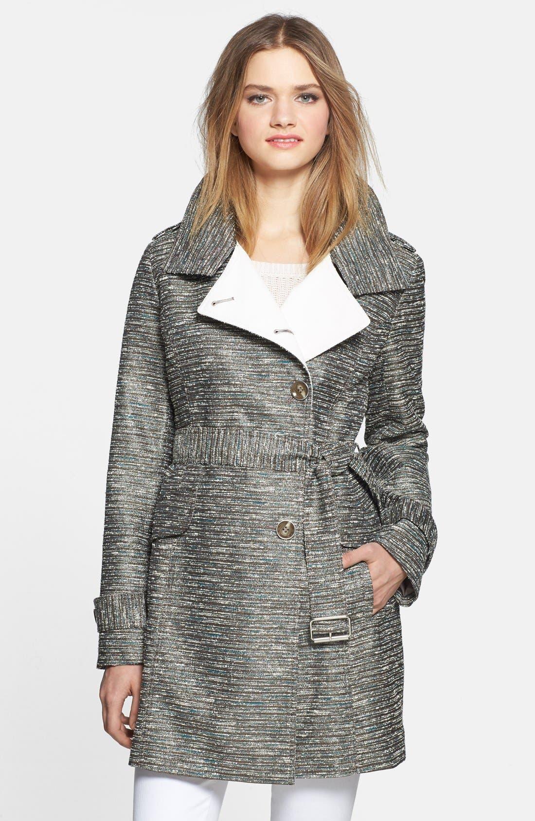 Main Image - Kenneth Cole New York Metallic Tweed Trench Coat