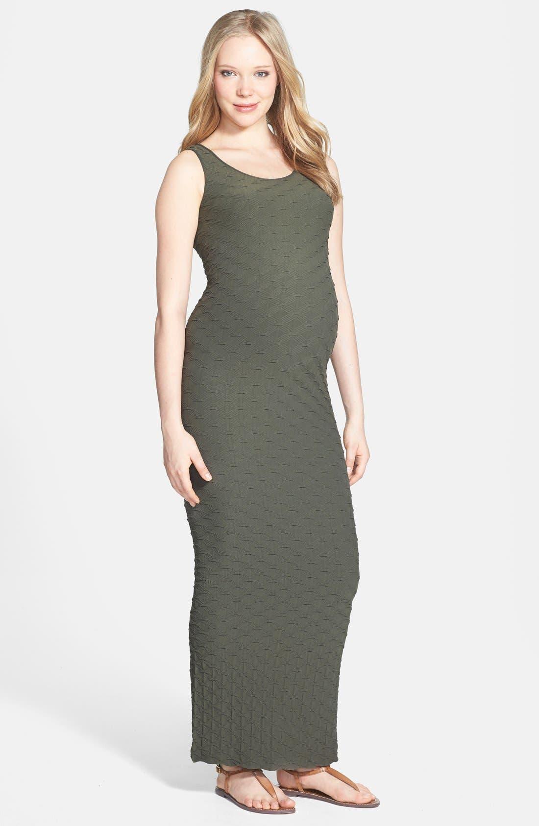 'Lattice' Maxi Maternity Dress,                             Main thumbnail 1, color,                             Safari