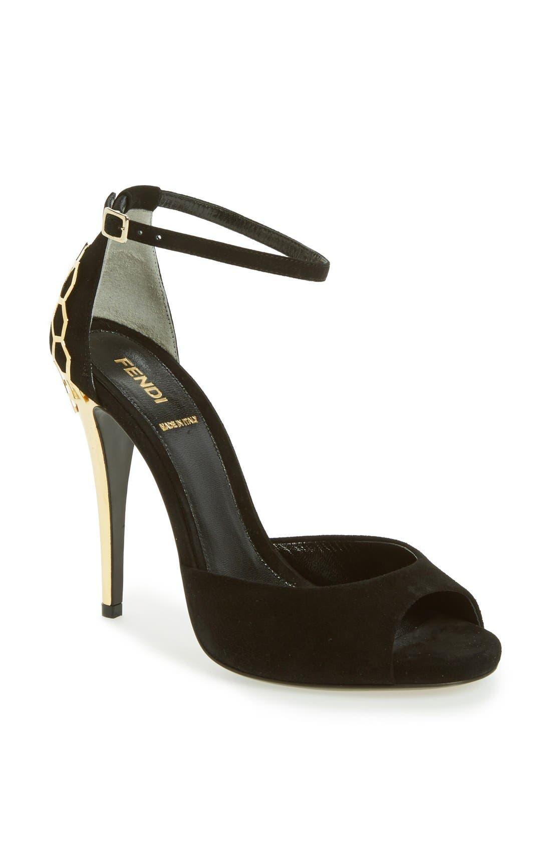 Main Image - Fendi 'Gea' Suede Ankle Strap Sandal