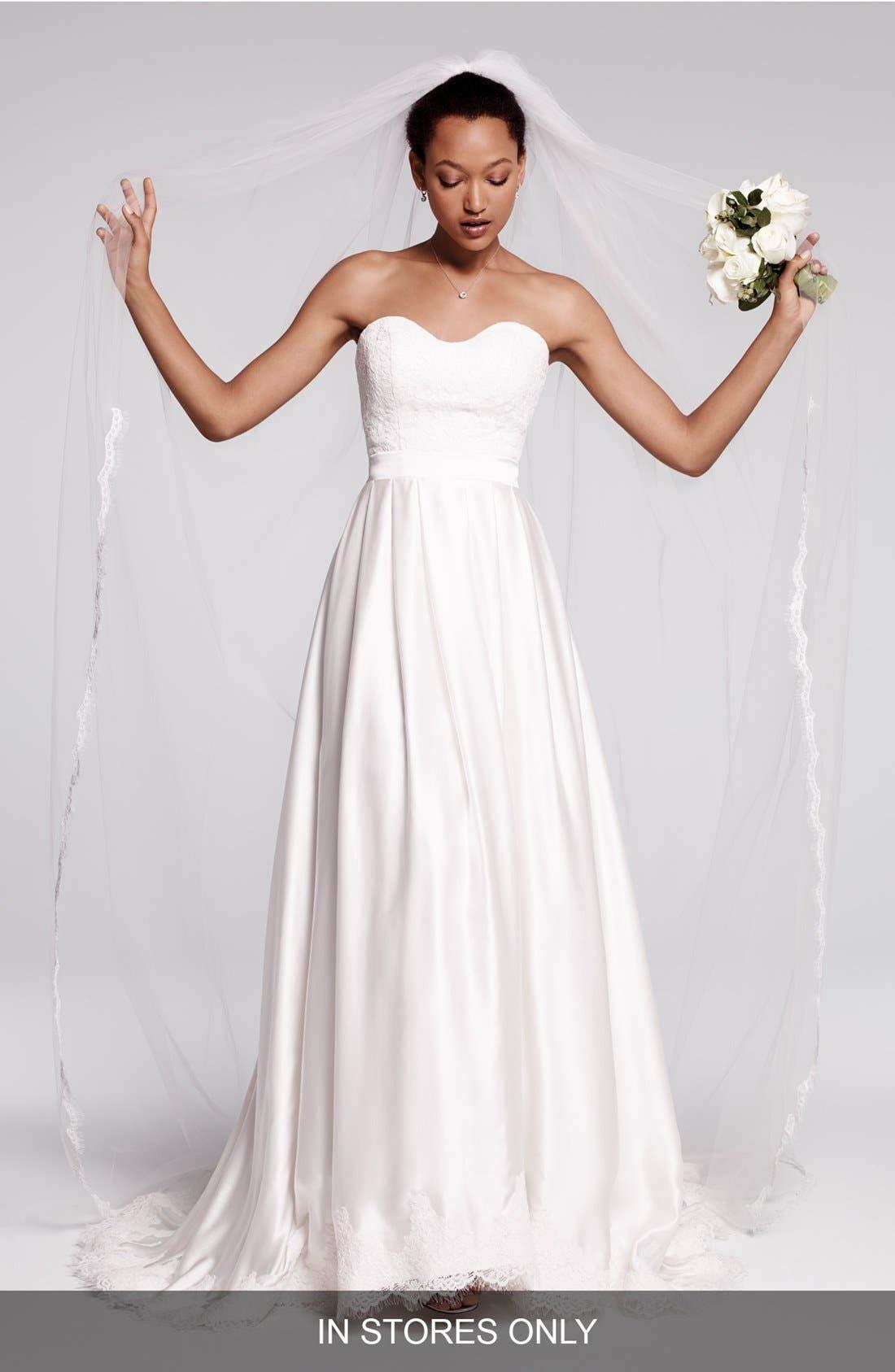 Ebie Lace & Silk Charmeuse Dress,                             Main thumbnail 1, color,                             Ivory