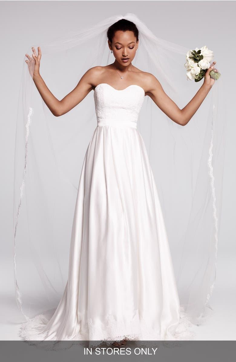 ebie lace silk charmeuse dress