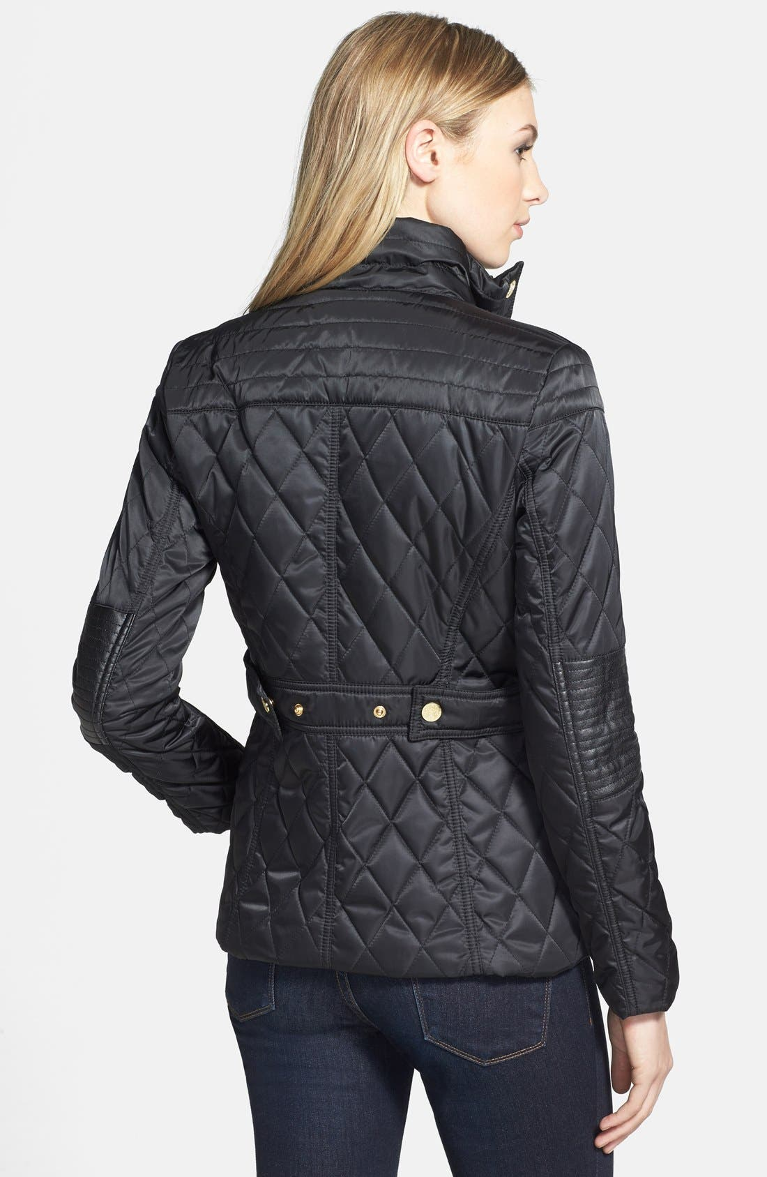 Alternate Image 2  - Vince Camuto Faux Leather Elbow Detail Quilted Jacket