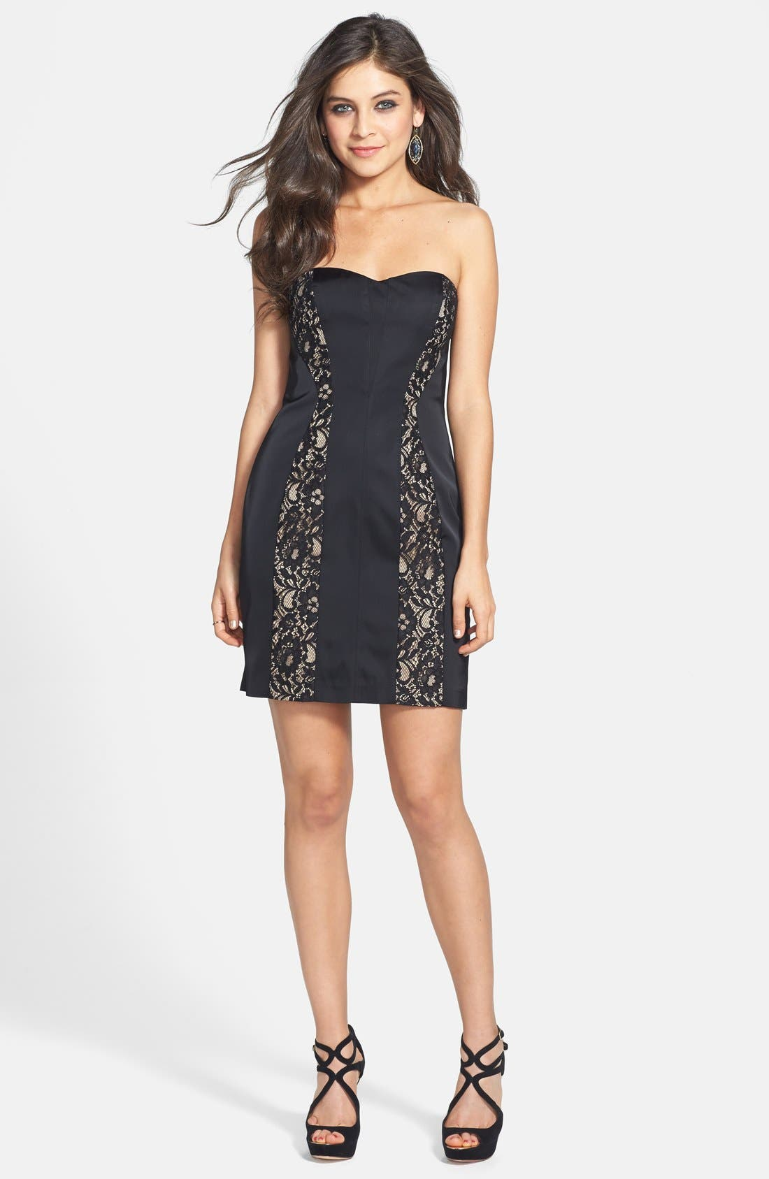 Alternate Image 3  - Aidan Mattox Lace Inset Sheath Dress