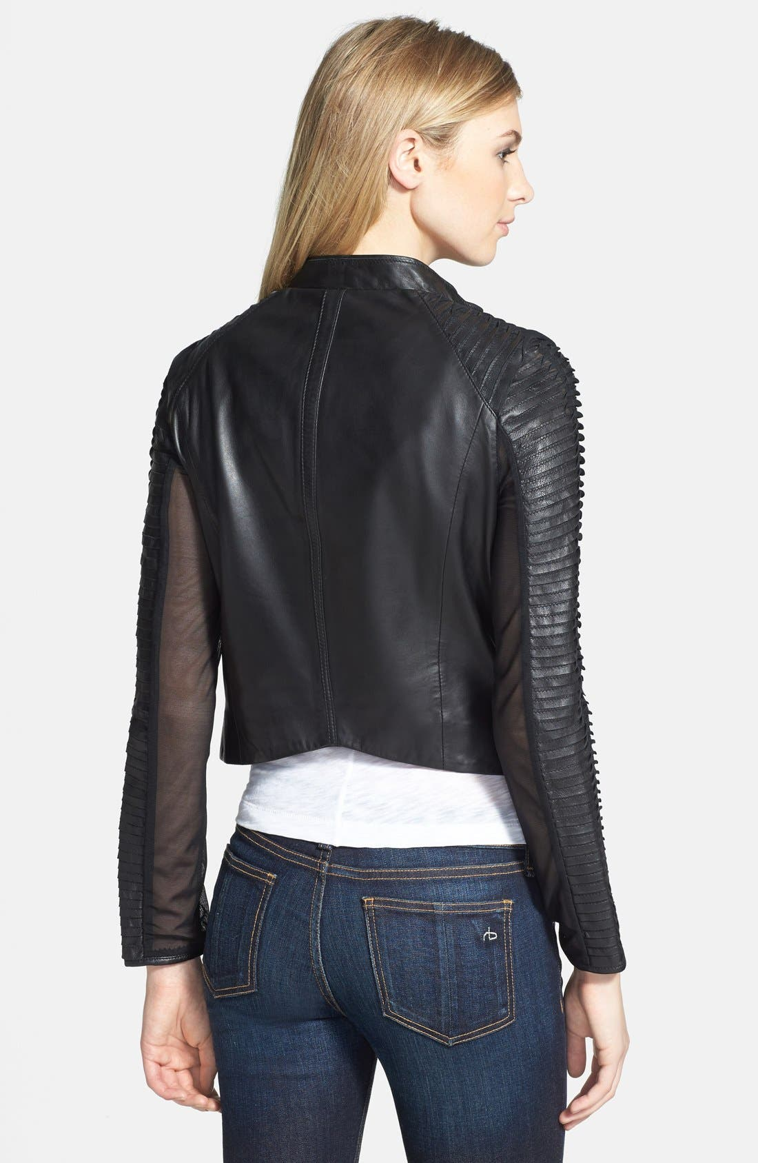 Alternate Image 2  - LaMarque Stripe Sleeve Detail Leather Jacket
