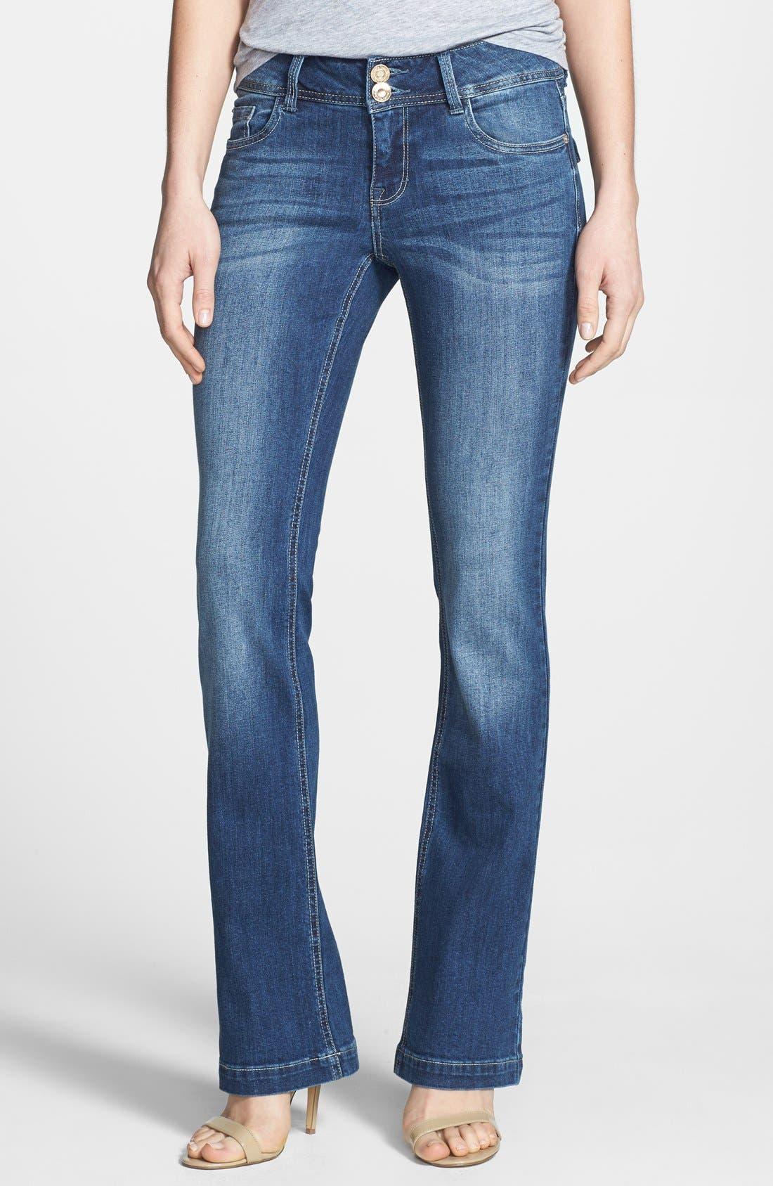 Main Image - kensie Curvy Bootcut Jeans (True Blue)