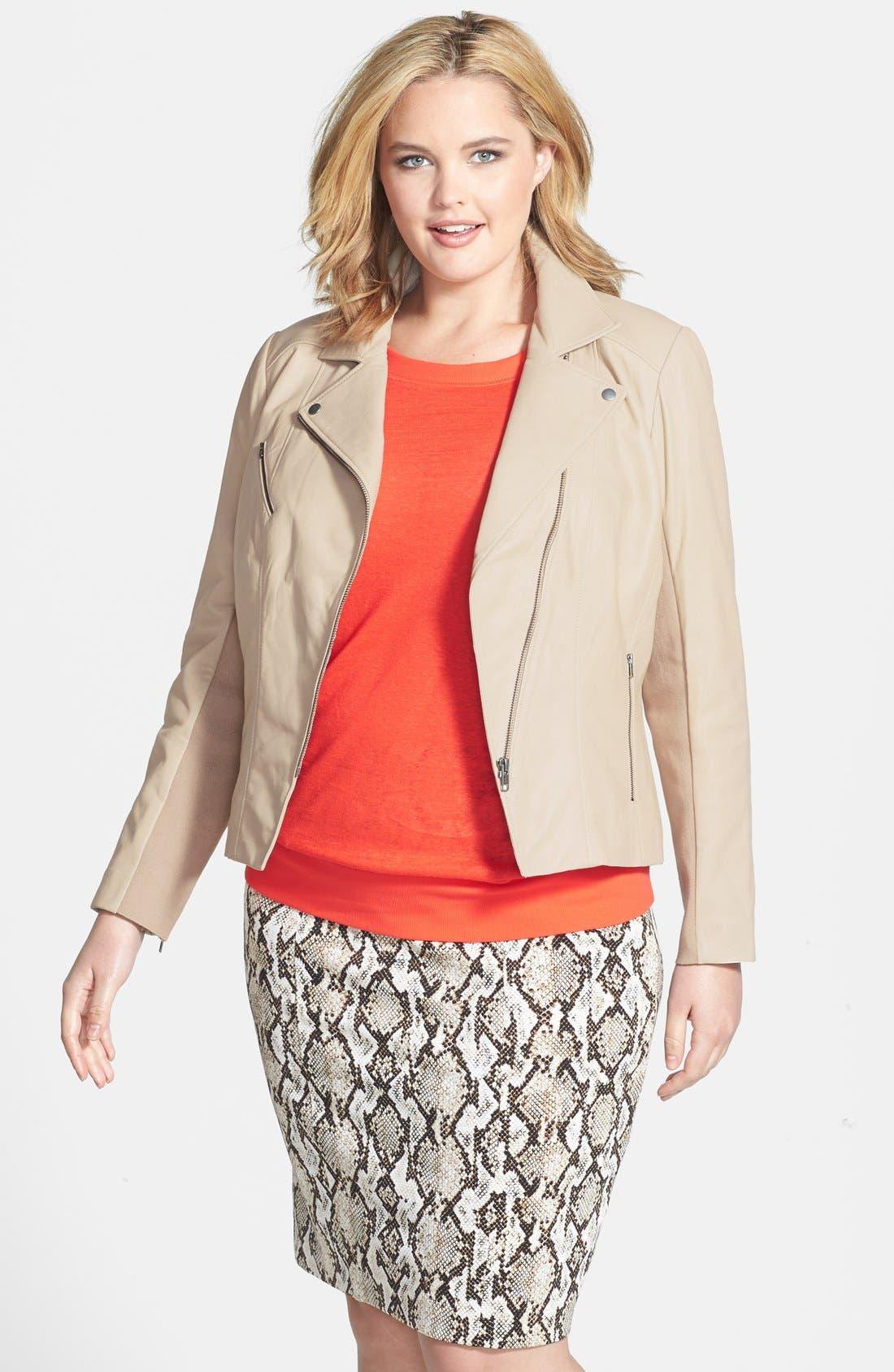 Alternate Image 1 Selected - Halogen® 'Powder' Lambskin Leather Jacket (Plus Size)