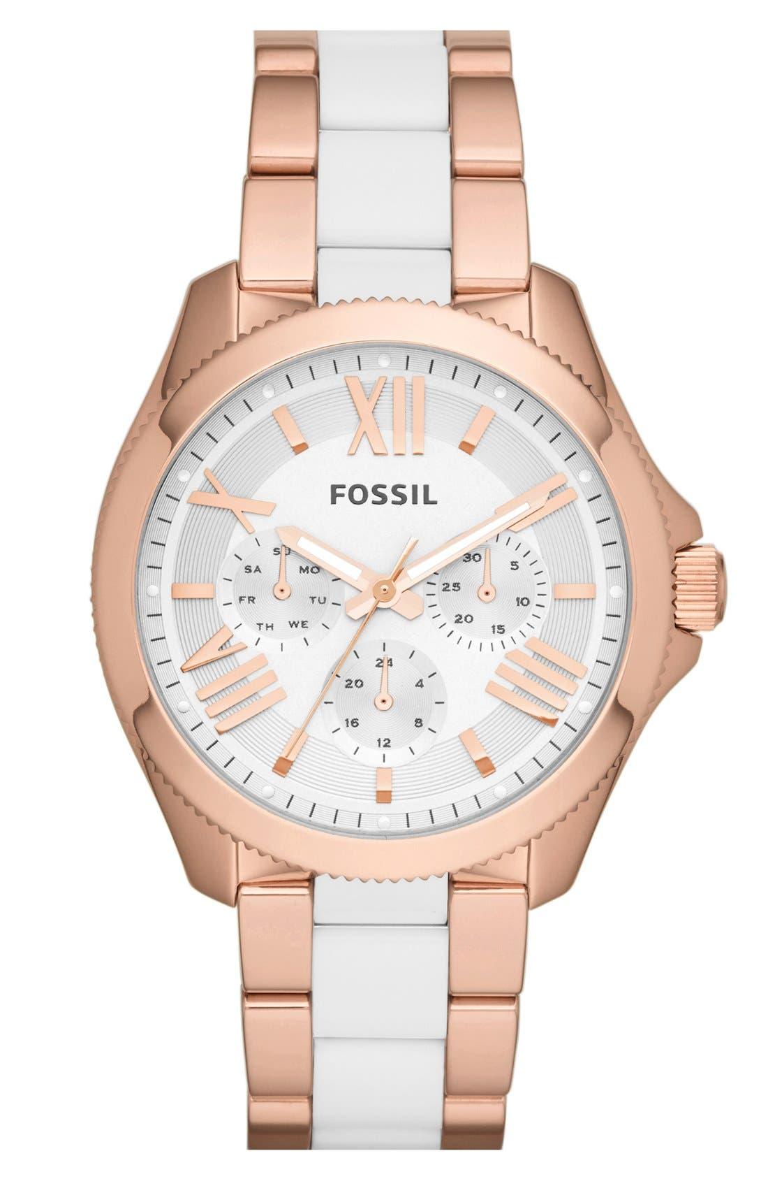 Alternate Image 1 Selected - Fossil 'Cecile' Multifunction Resin Link Bracelet Watch, 40mm