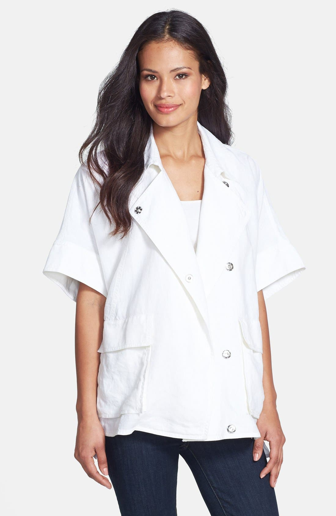 Alternate Image 1 Selected - Eileen Fisher Classic Collar Short Sleeve Jacket (Regular & Petite)