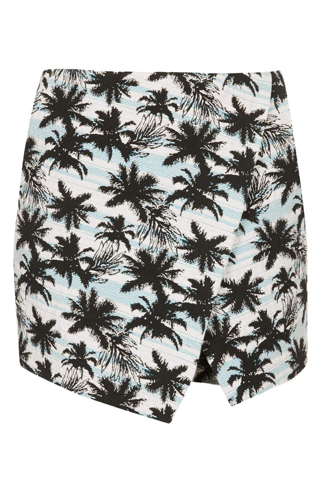 Alternate Image 3  - Topshop Palm Jacquard Skort