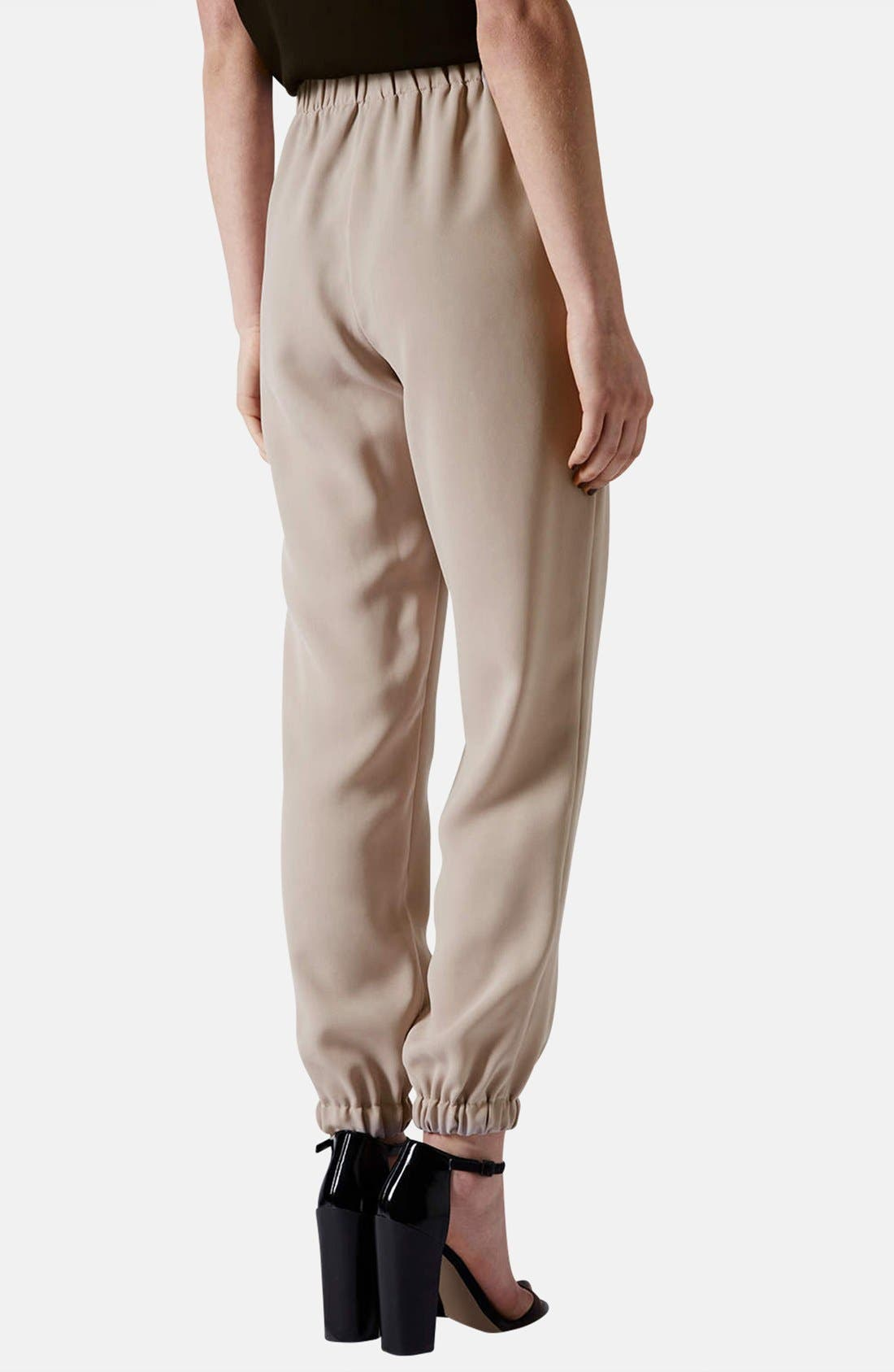Tapered Crepe Track Pants,                             Alternate thumbnail 2, color,                             Taupe