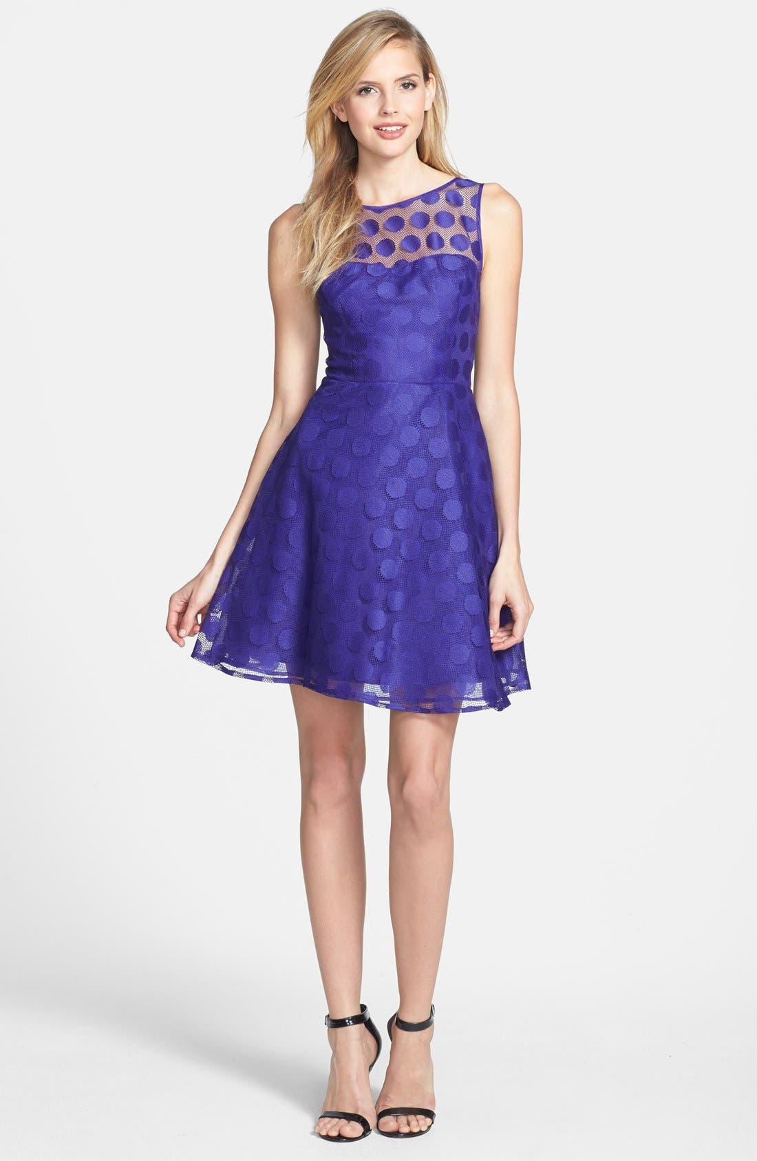 Alternate Image 2  - Betsey Johnson 'Ivory' Polka Dot Mesh Fit & Flare Dress