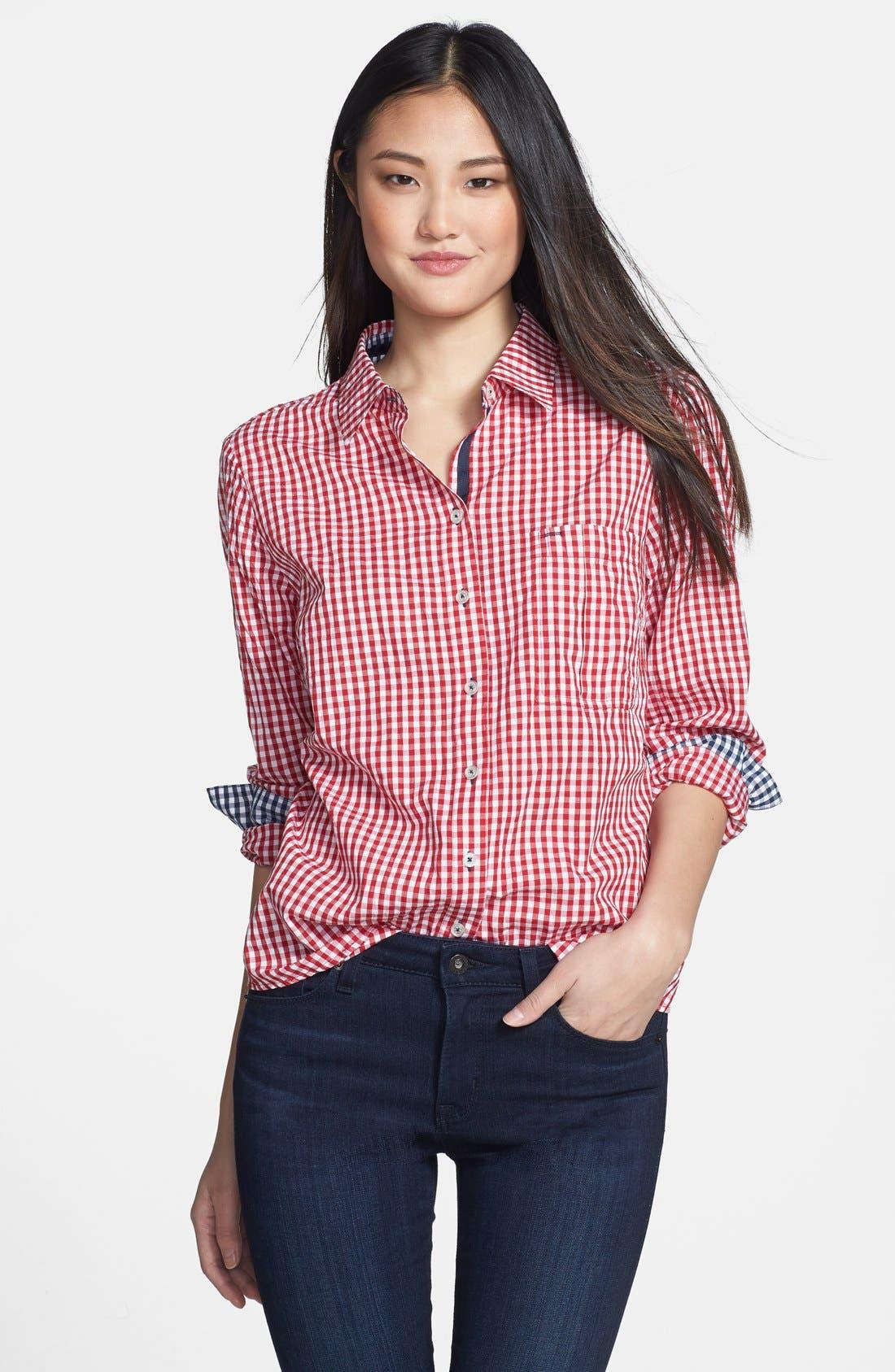 Gingham Shirt,                             Main thumbnail 1, color,                             Cherry/ Navy Gingham
