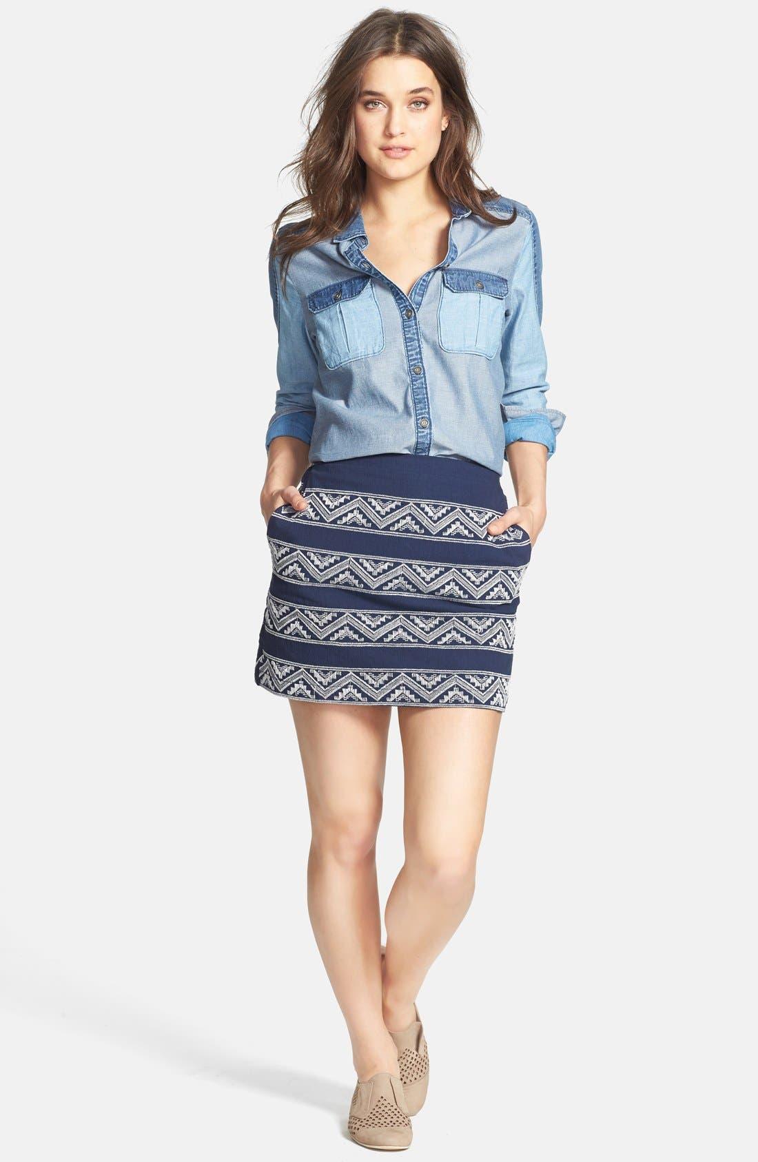 Alternate Image 5  - Hinge® Embroidered A-Line Skirt