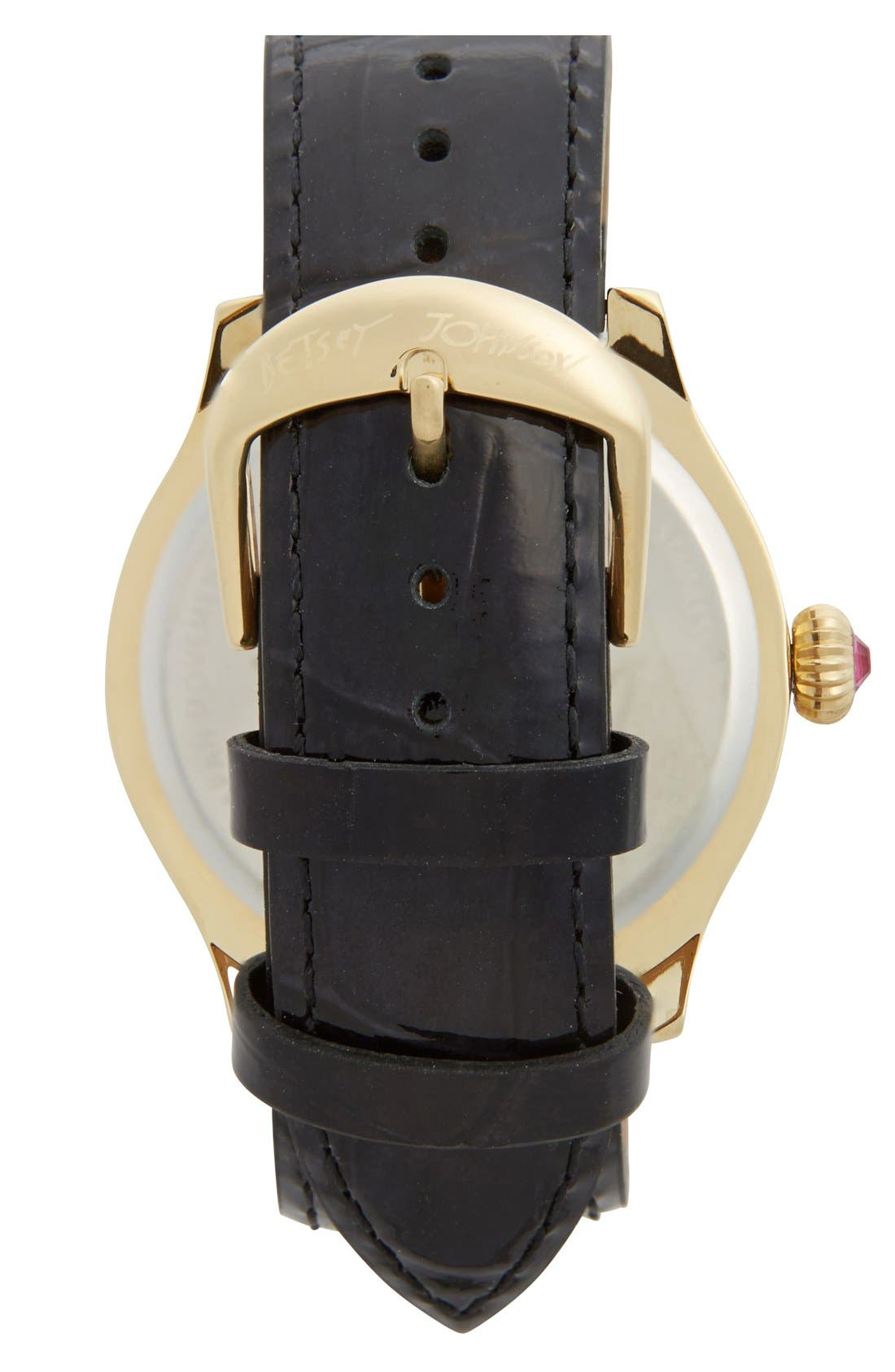 Alternate Image 2  - Betsey Johnson Red Lip Dial Patent Leather Strap Watch, 41mm