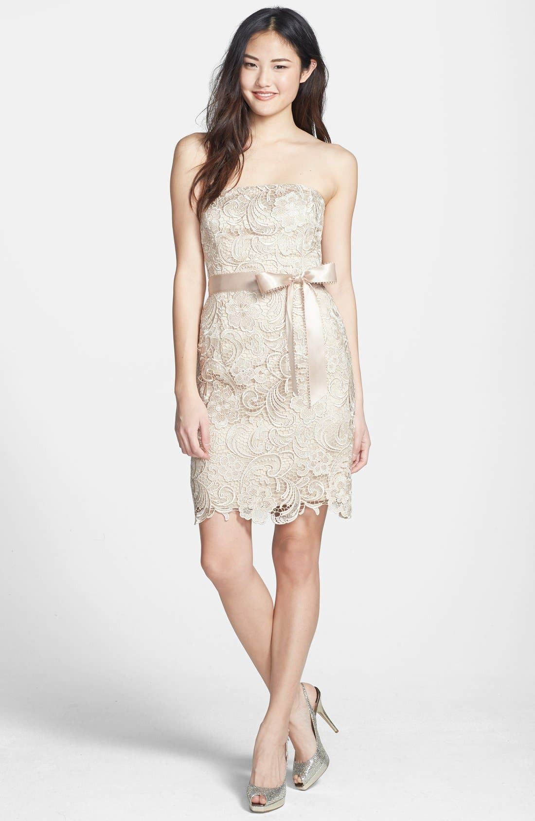 Alternate Image 1 Selected - Adrianna Papell Strapless Lace Sheath Dress