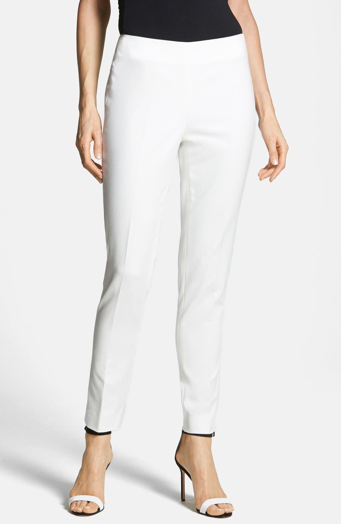 Vince Camuto Side Zip Double Weave Stretch Cotton Pants (Regular & Petite)