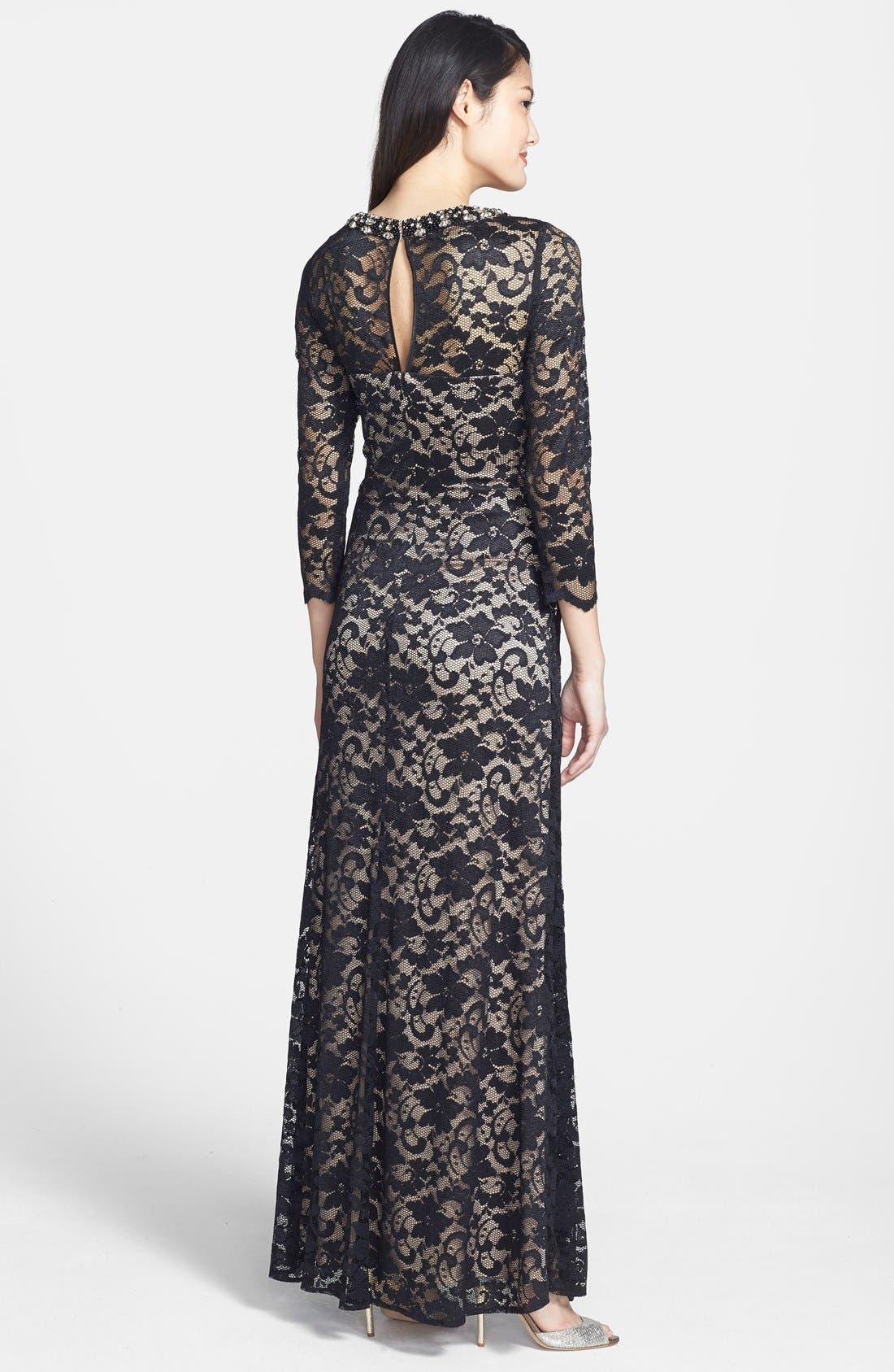 Alternate Image 2  - Eliza J Embellished Lace Gown