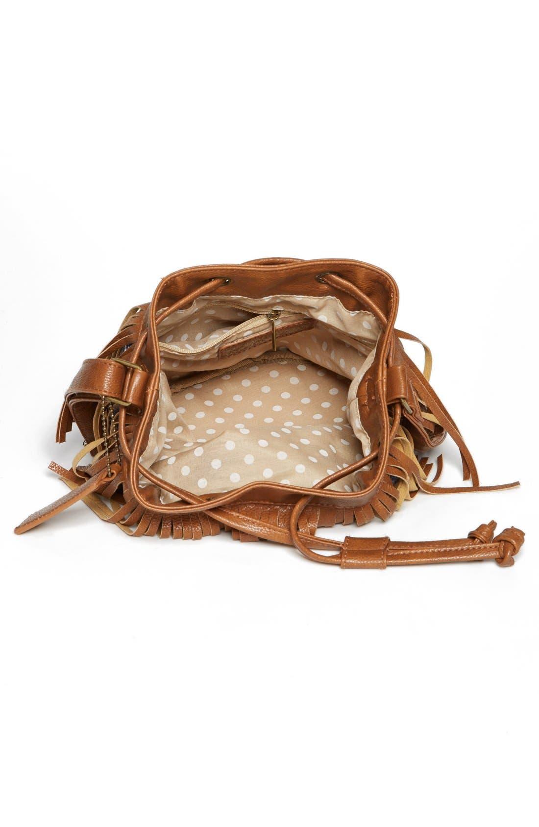 Alternate Image 2  - KENDALL + KYLIE Madden Girl Fringed Fabric Bucket Bag (Juniors)