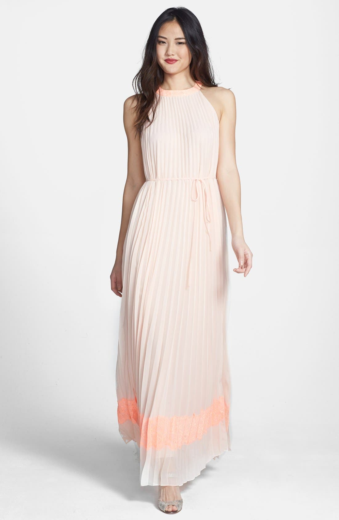 Alternate Image 1 Selected - Ted Baker London 'Marryy' Pleated Halter Maxi Dress