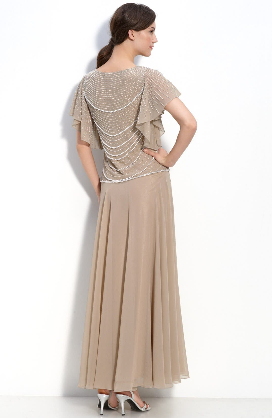 Alternate Image 2  - J Kara Beaded Mock Two-Piece Crepe Dress