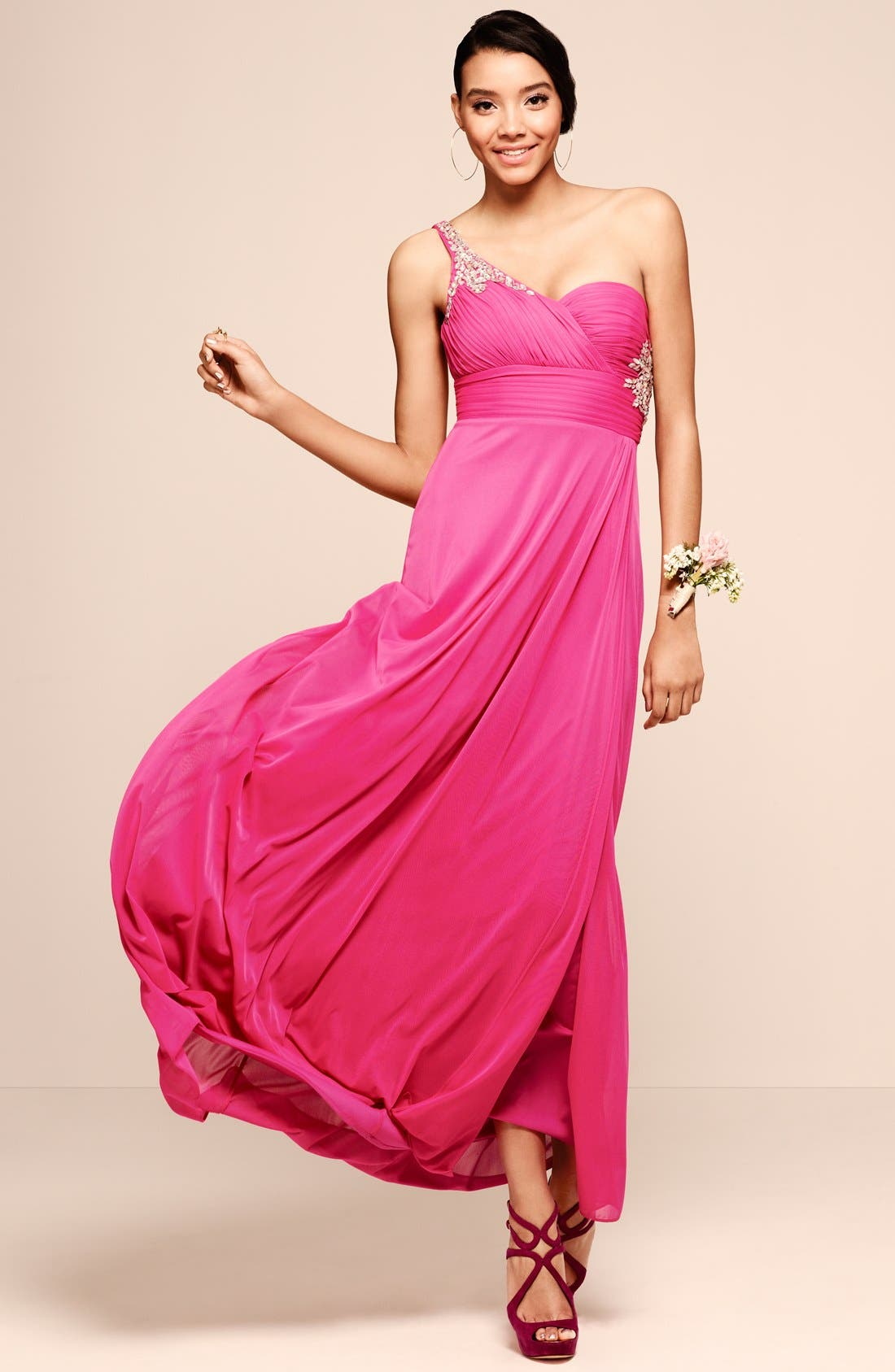 Alternate Image 4  - Hailey by Adrianna Papell Embellished One-Shoulder Chiffon Gown