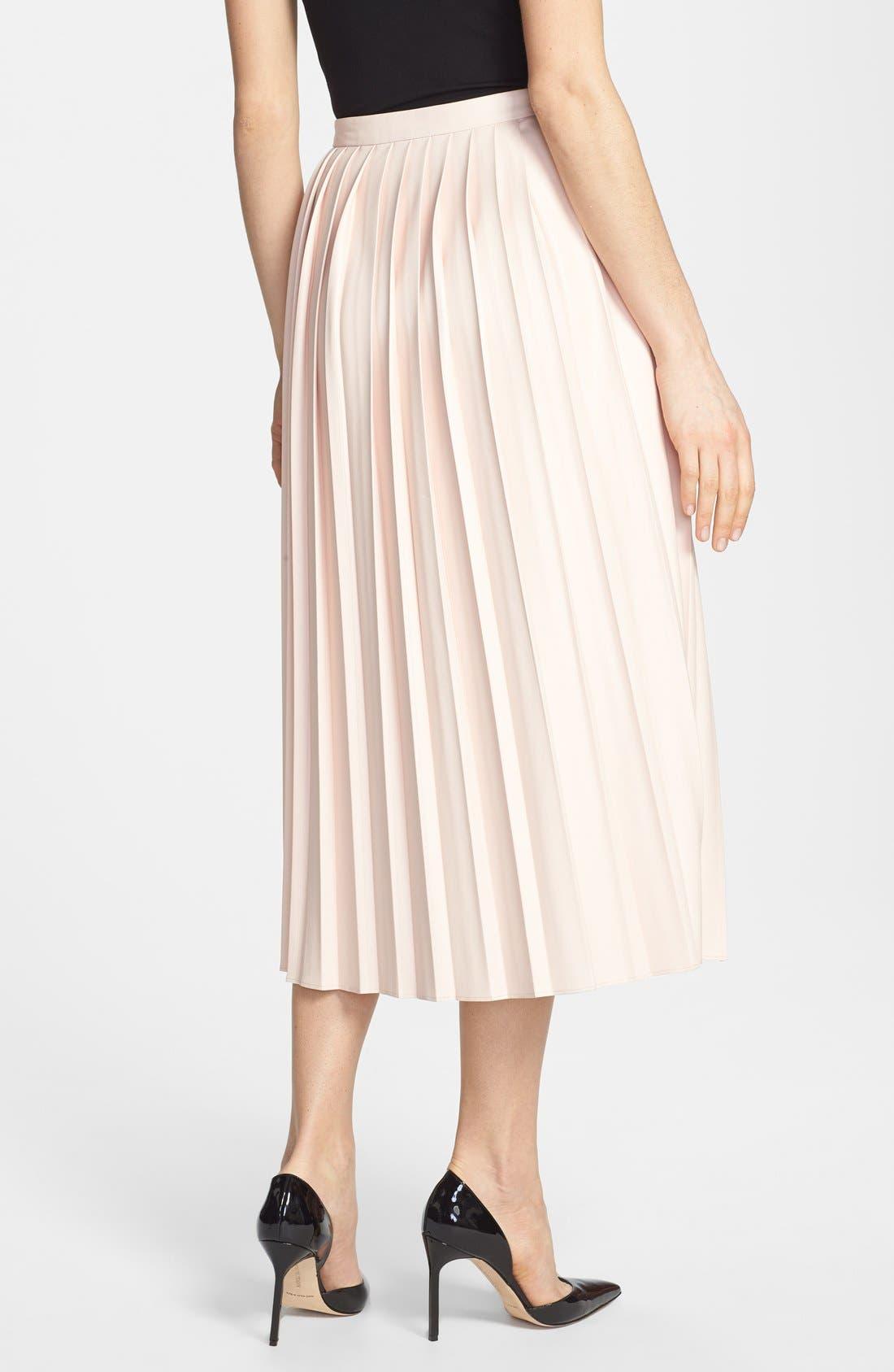 Alternate Image 2  - Pink Tartan Faux Leather Pleat Skirt