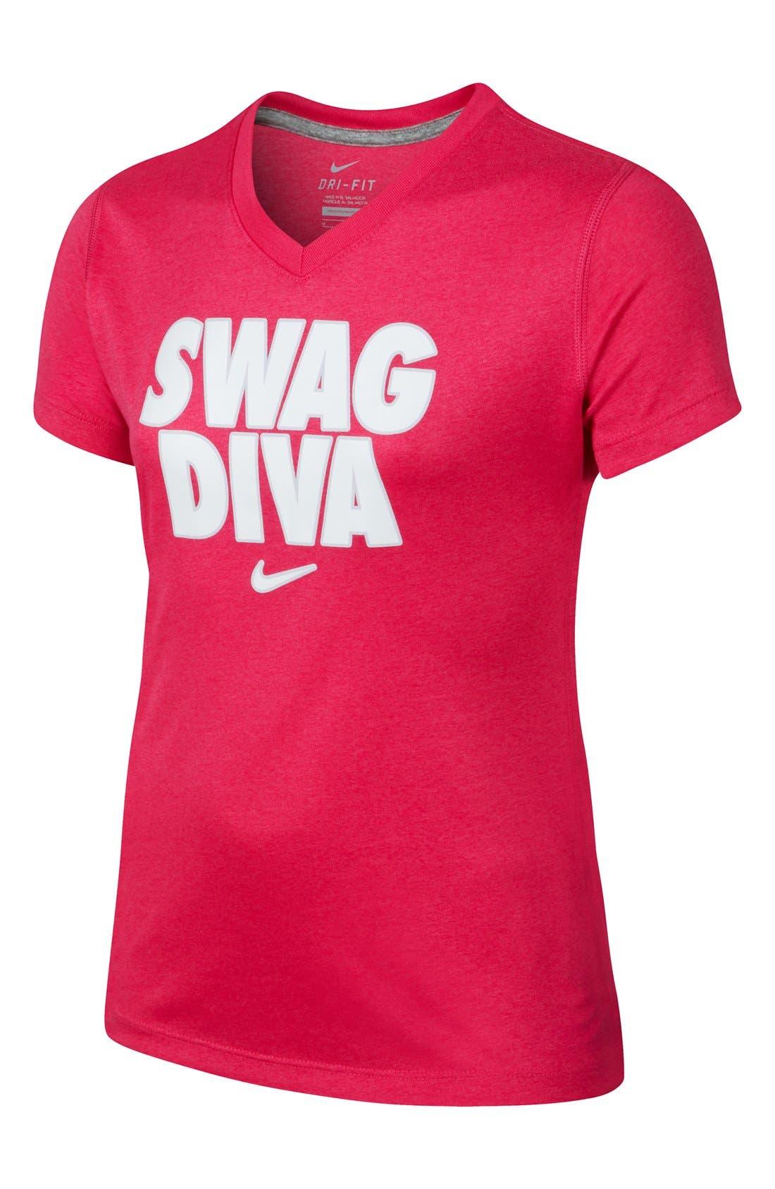 Alternate Image 1 Selected - Nike 'Swag Diva' Dri-FIT Top (Big Girls)