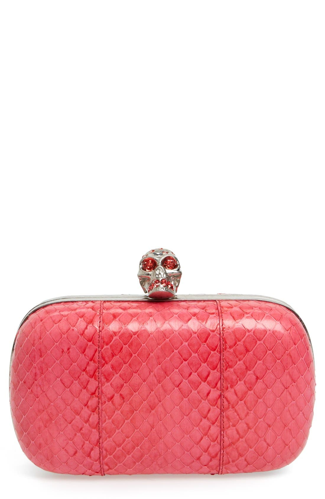 Alternate Image 1 Selected - Alexander McQueen 'Skull Nova Whip' Genuine Snakeskin Clutch