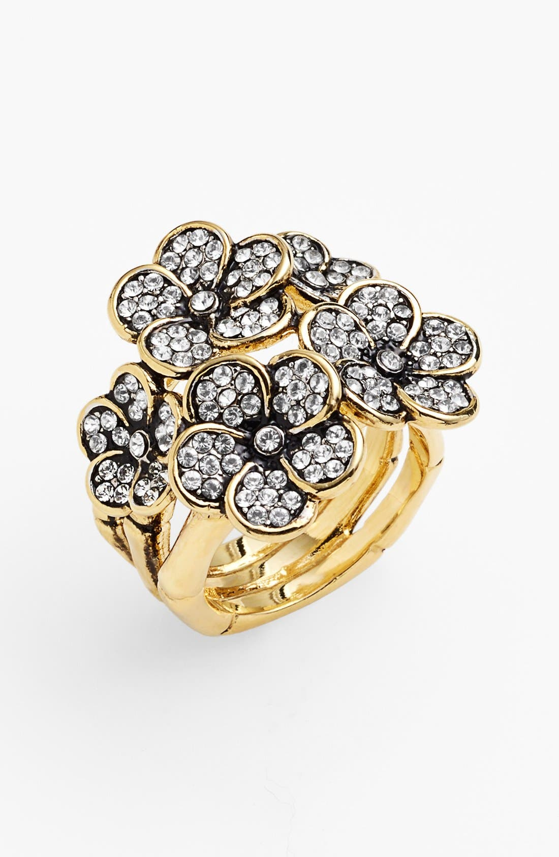 Main Image - Ariella Collection Pavé Flower Cocktail Ring