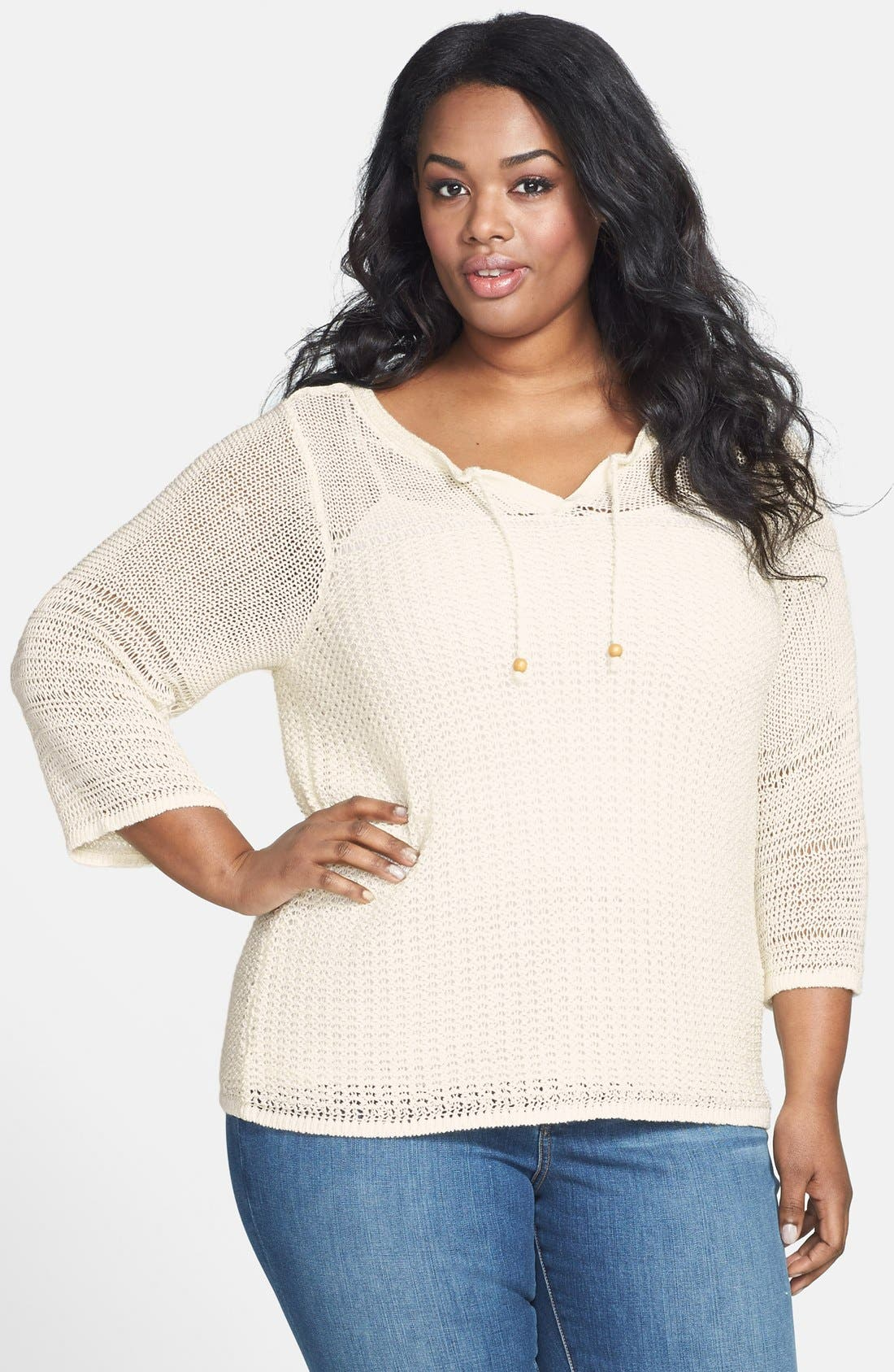 Alternate Image 1 Selected - Lucky Brand 'Millbrae' Bell Sleeve Sweater (Plus Size)