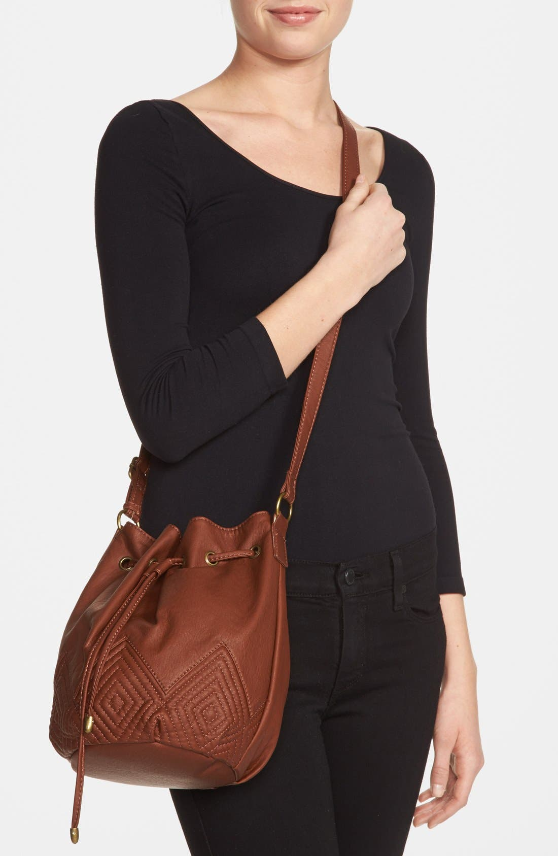 Alternate Image 4  - KENDALL + KYLIE Madden Girl Quilted Faux Leather Bucket Bag (Juniors)